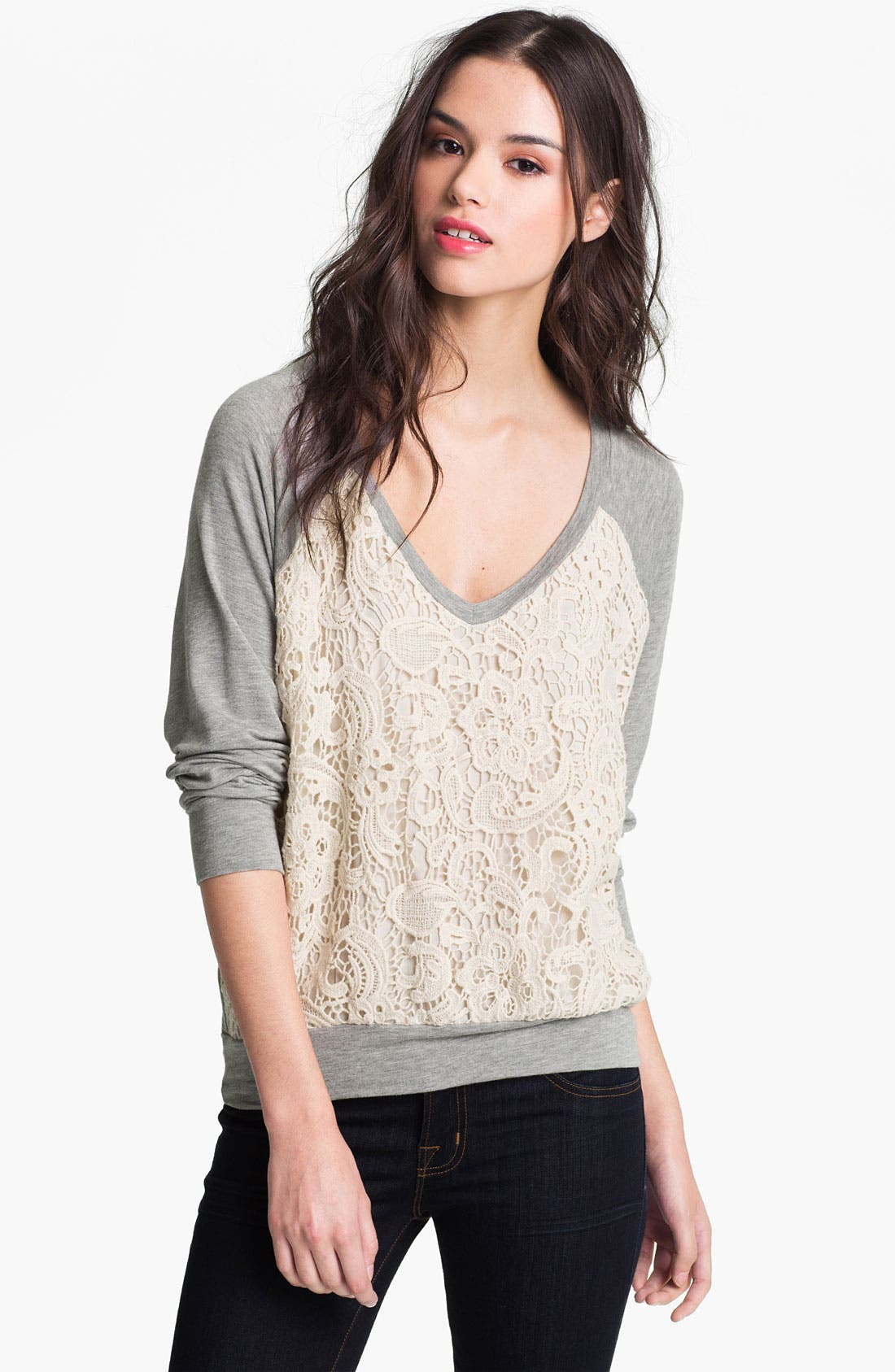 Alternate Image 1 Selected - Ella Moss Lace Front Sweatshirt