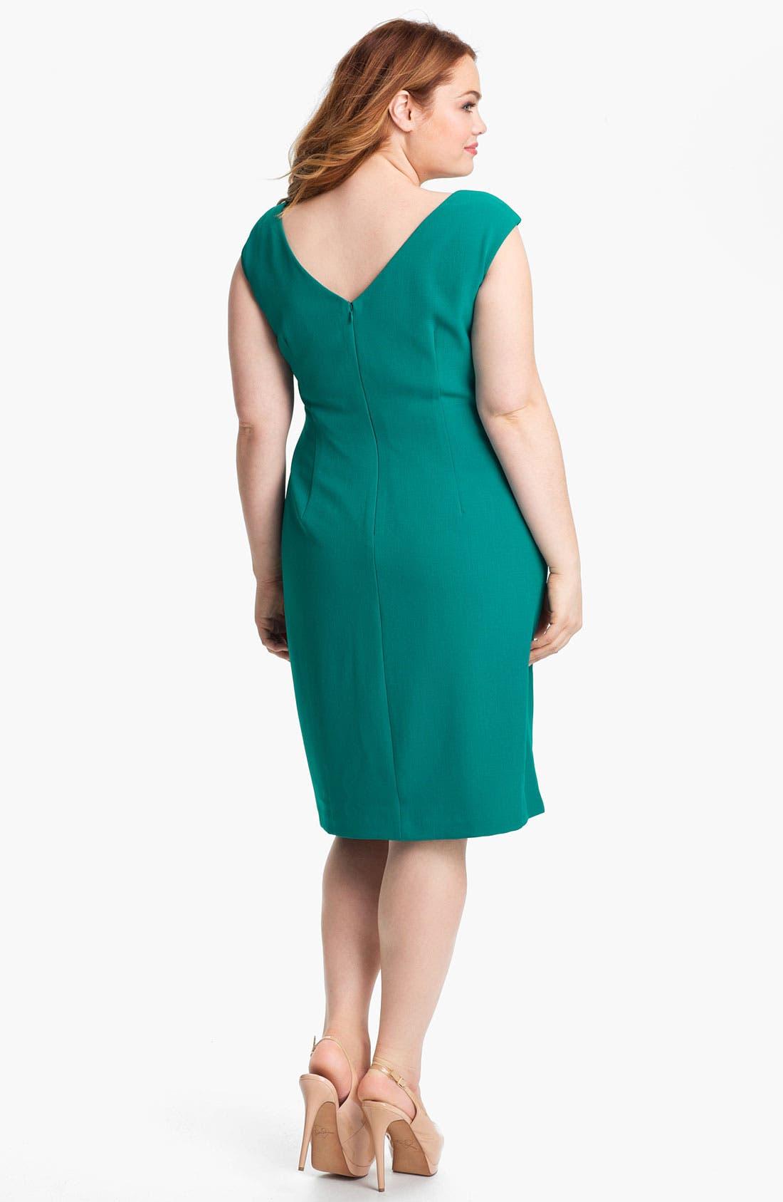 Alternate Image 2  - Adrianna Papell Ruffled Sheath Dress (Plus)