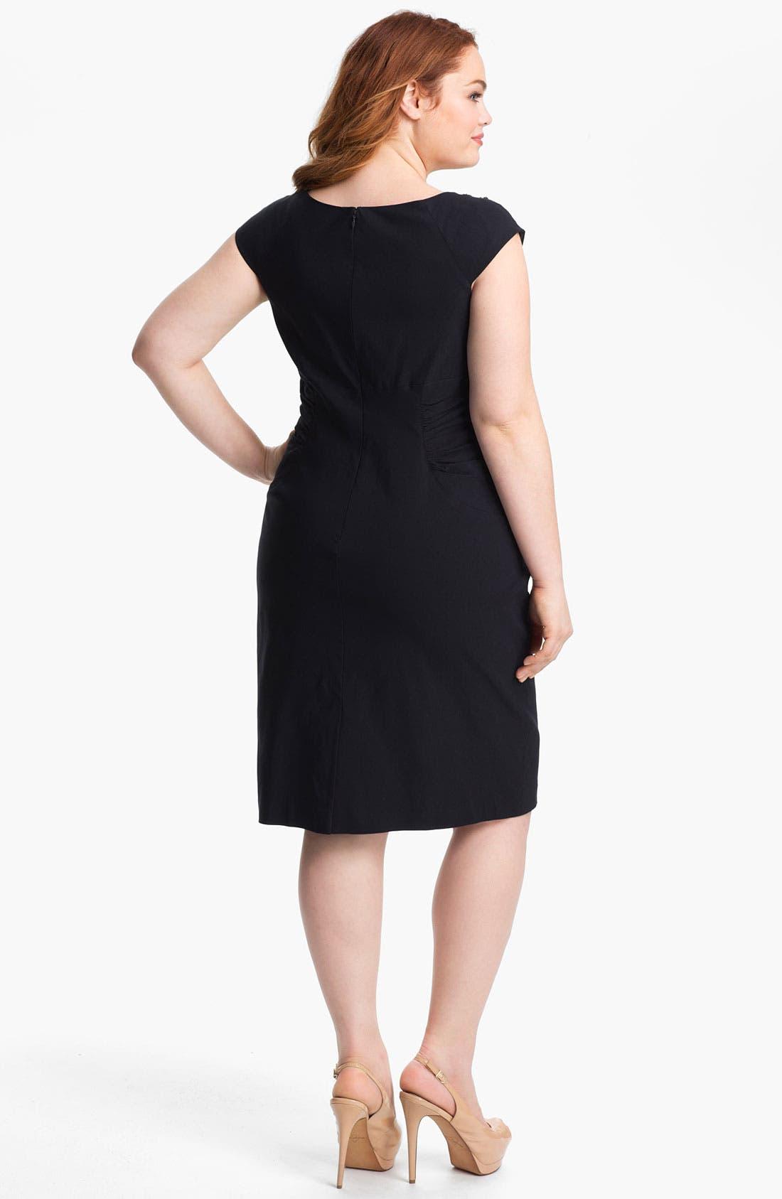 Alternate Image 2  - Adrianna Papell Embellished Ruched Sheath Dress (Plus Size)
