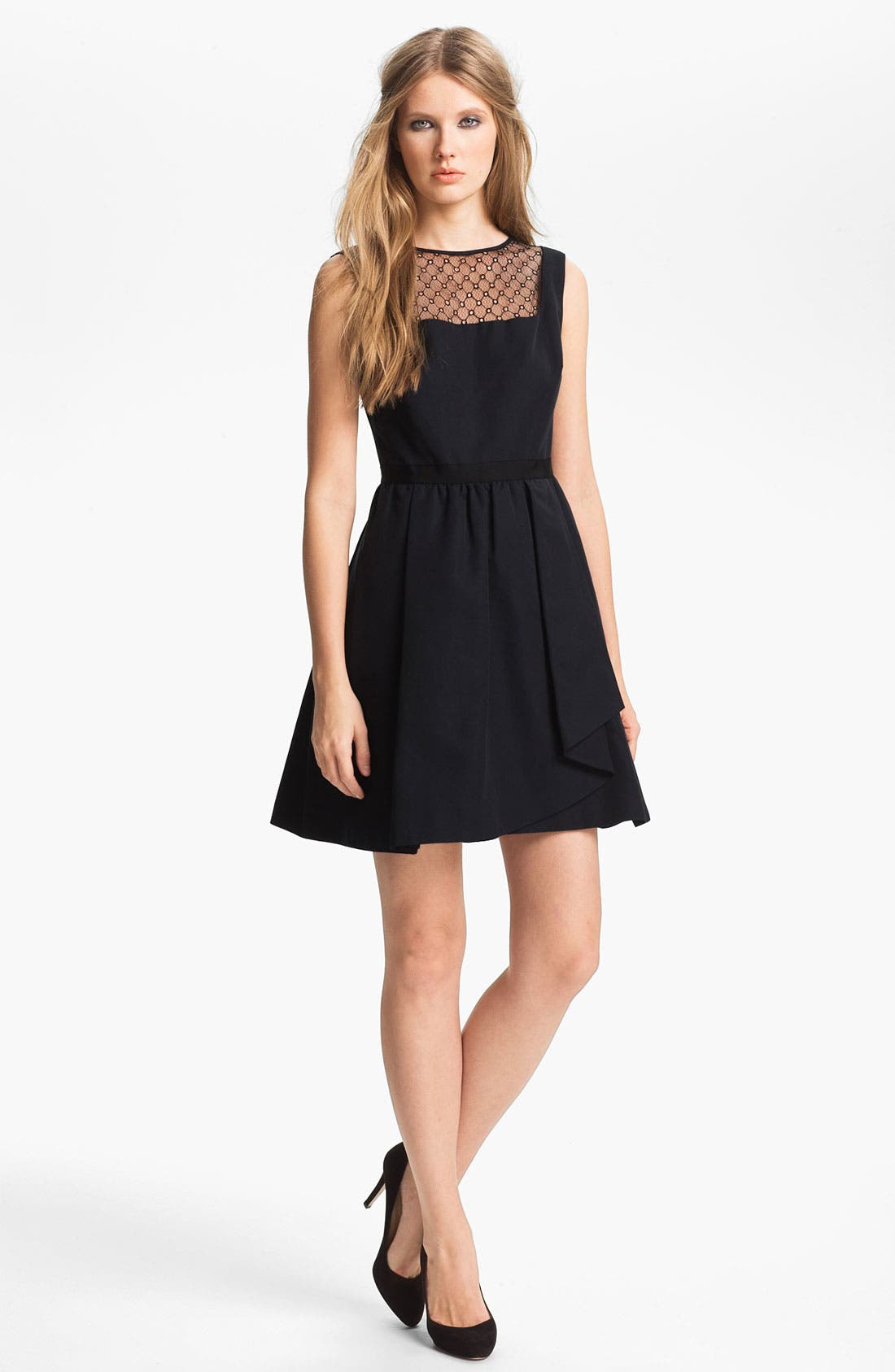 Main Image - Miss Wu Lace Yoke Faille Dress (Nordstrom Exclusive)