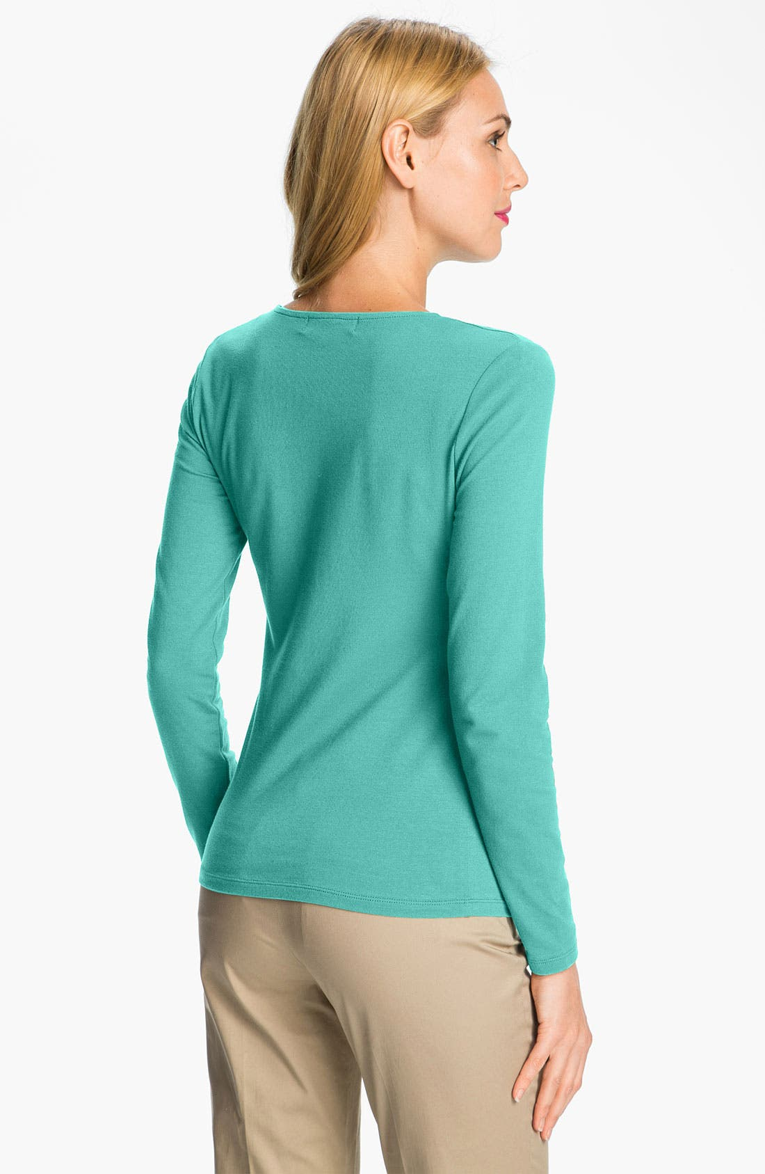 Alternate Image 2  - MICHAEL Michael Kors V-Neck Zip Front Top (Petite)