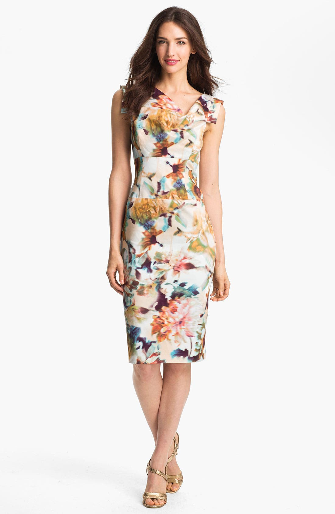 Alternate Image 1 Selected - Black Halo 'Jackie O' Tab Sleeve Print Sheath Dress