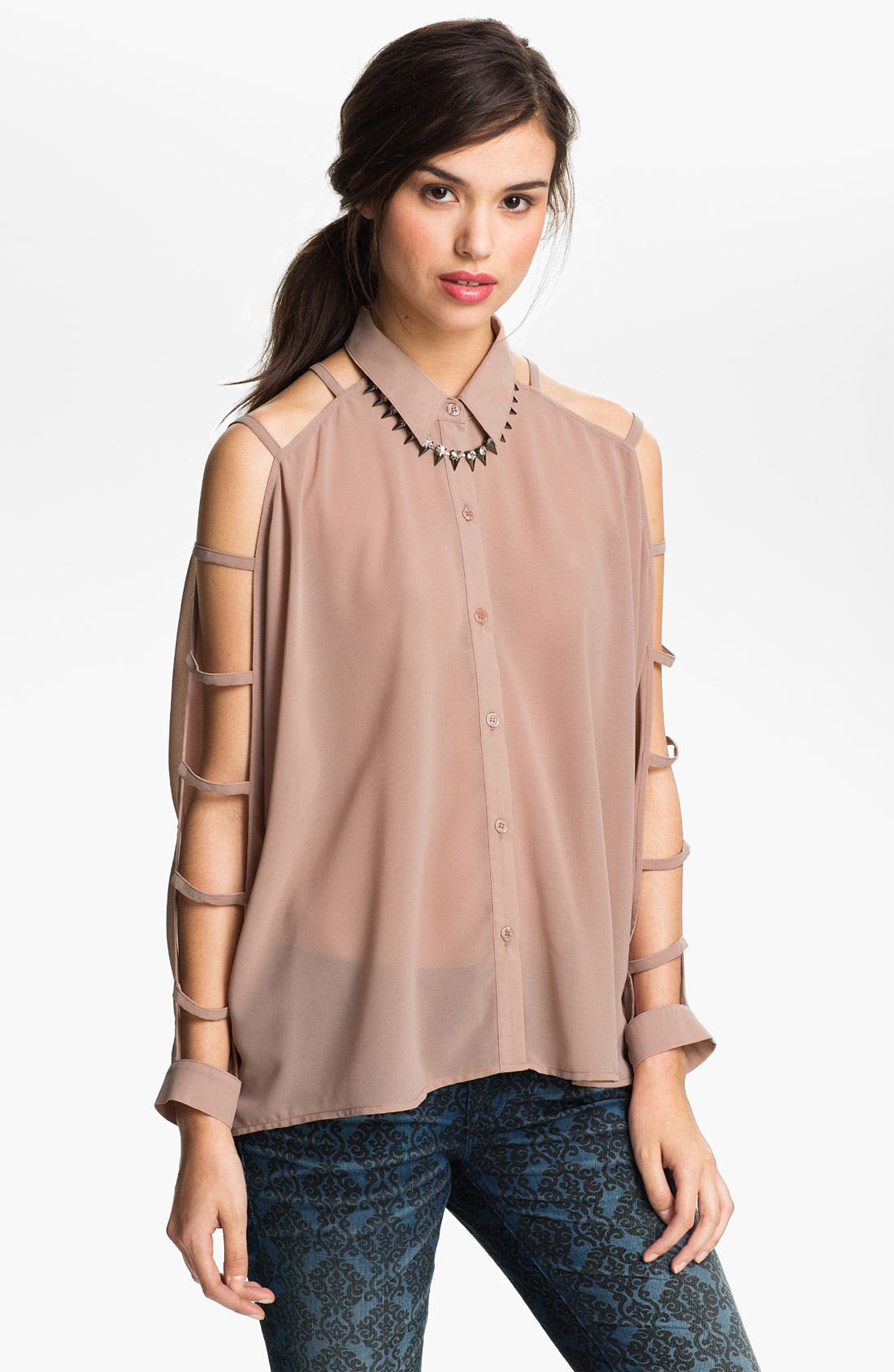 Alternate Image 1 Selected - Lush Ladder Sleeve Shirt (Juniors)