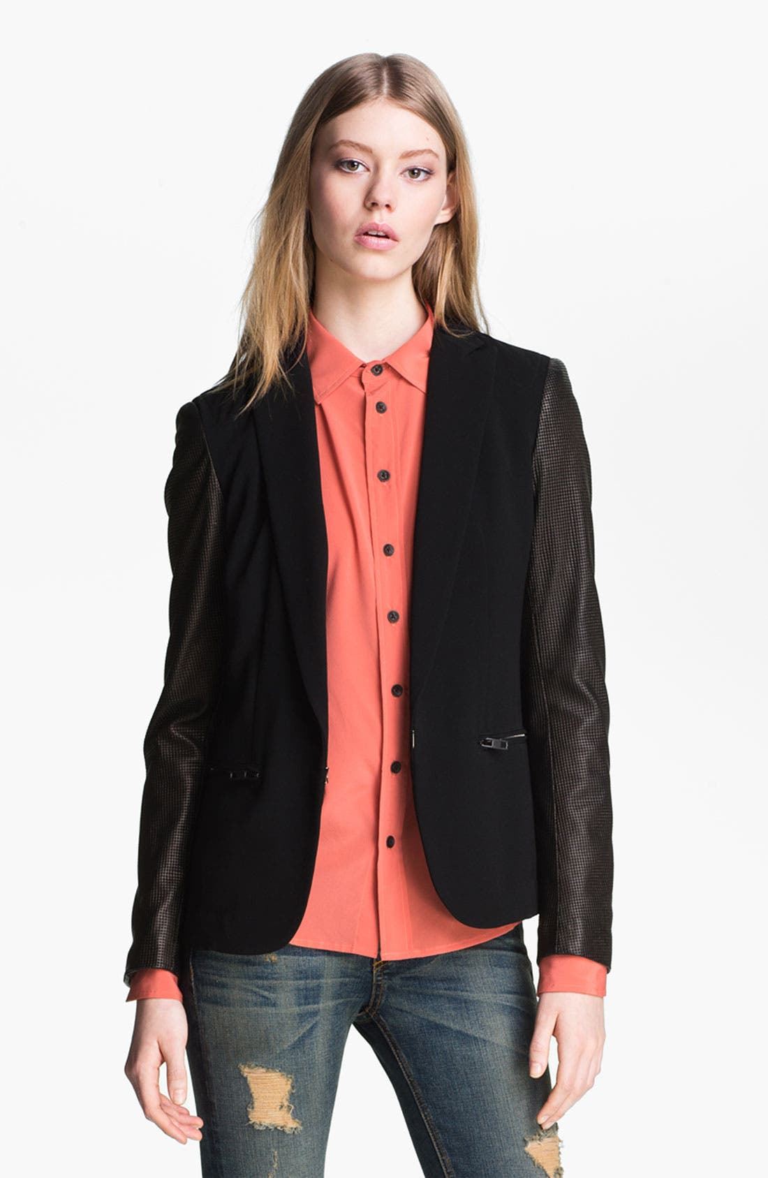 Alternate Image 2  - rag & bone Leather Sleeve Moto Blazer