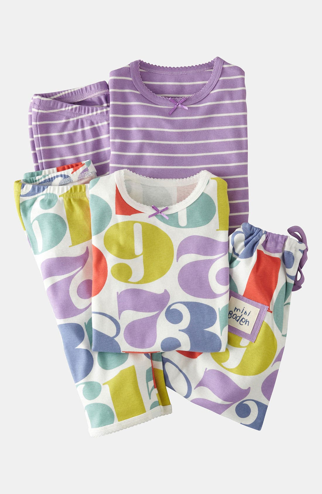 Alternate Image 1 Selected - Mini Boden Two Piece Fitted Pajamas (2-Pack) (Little Girls & Big Girls)