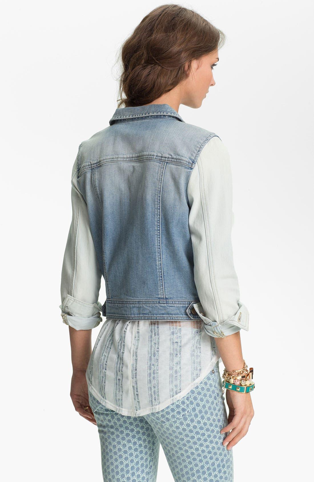 Alternate Image 2  - Rubbish® Two Tone Denim Jacket (Juniors)