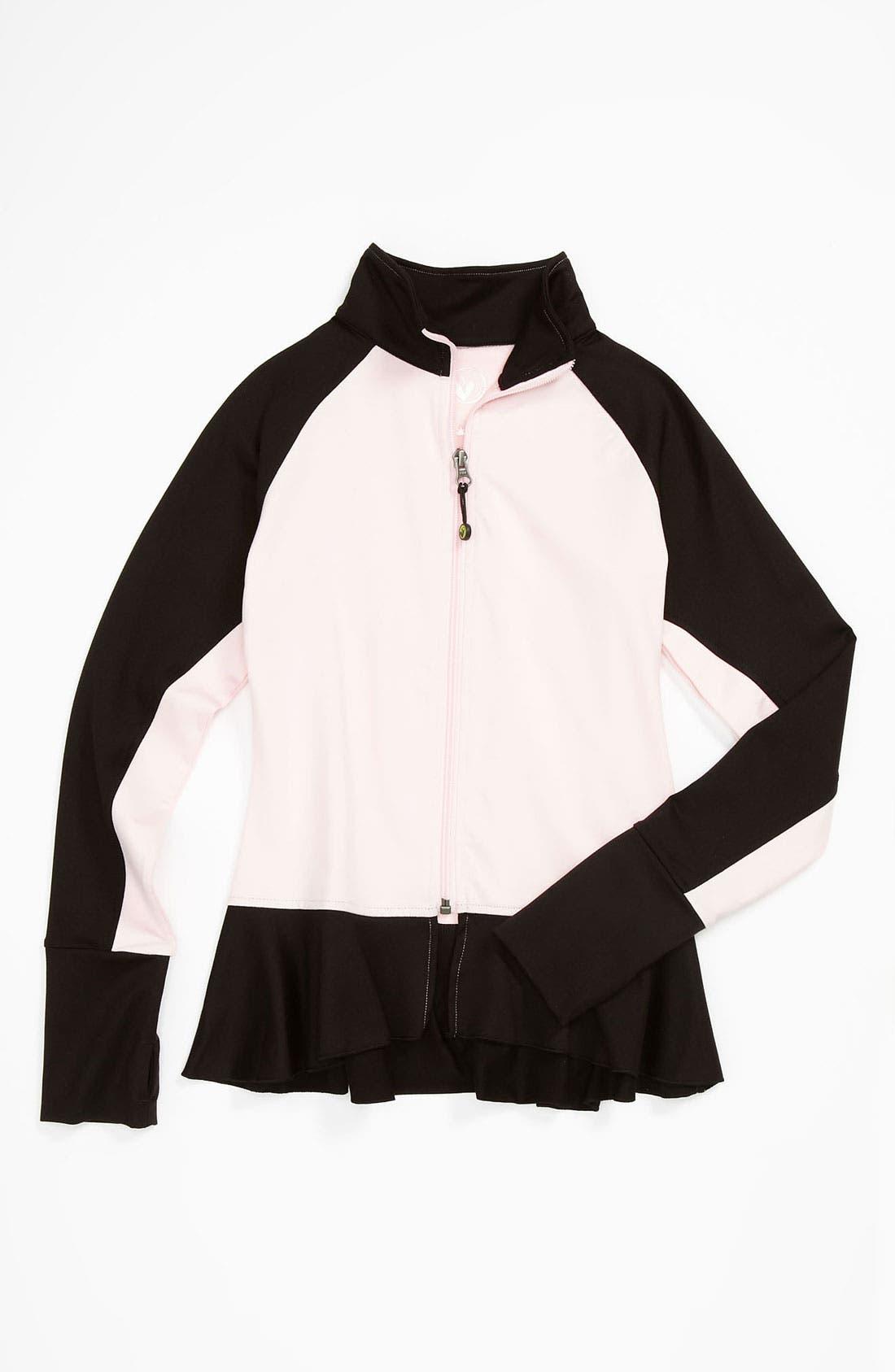 Alternate Image 1 Selected - Limeapple Ruffle Jacket (Big Girls)