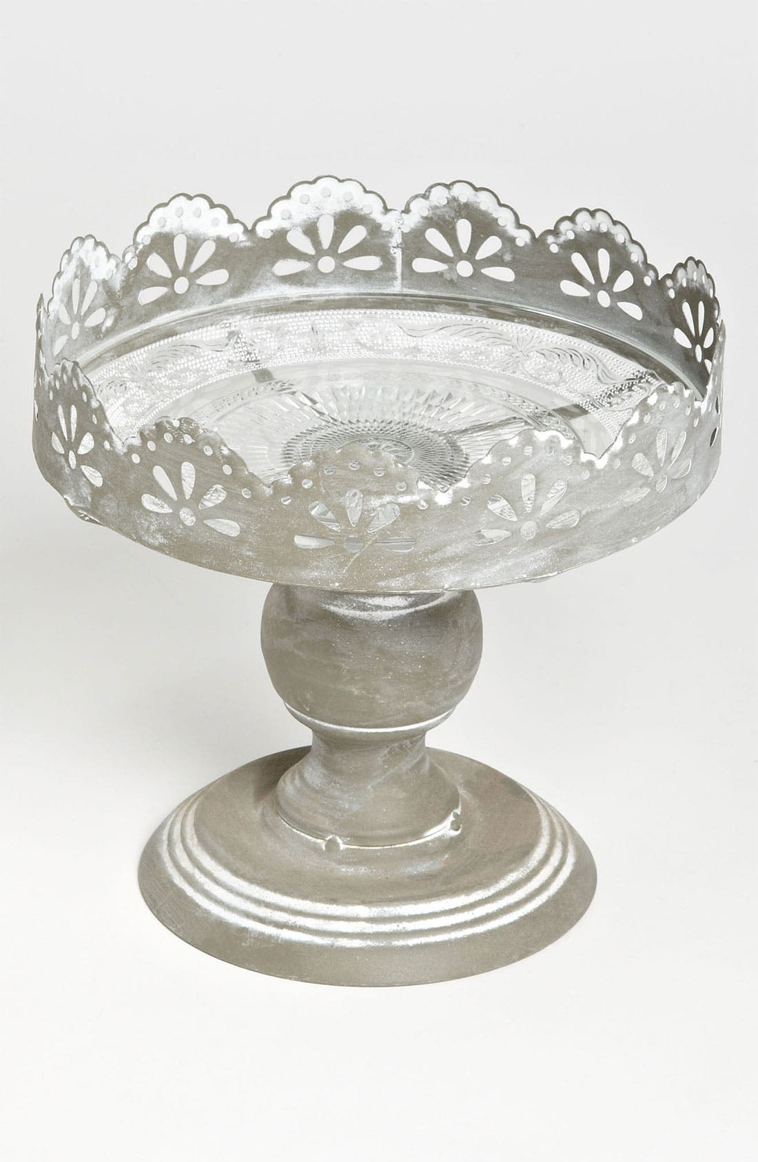 Alternate Image 1 Selected - Metal & Glass Pedestal Plate, Small