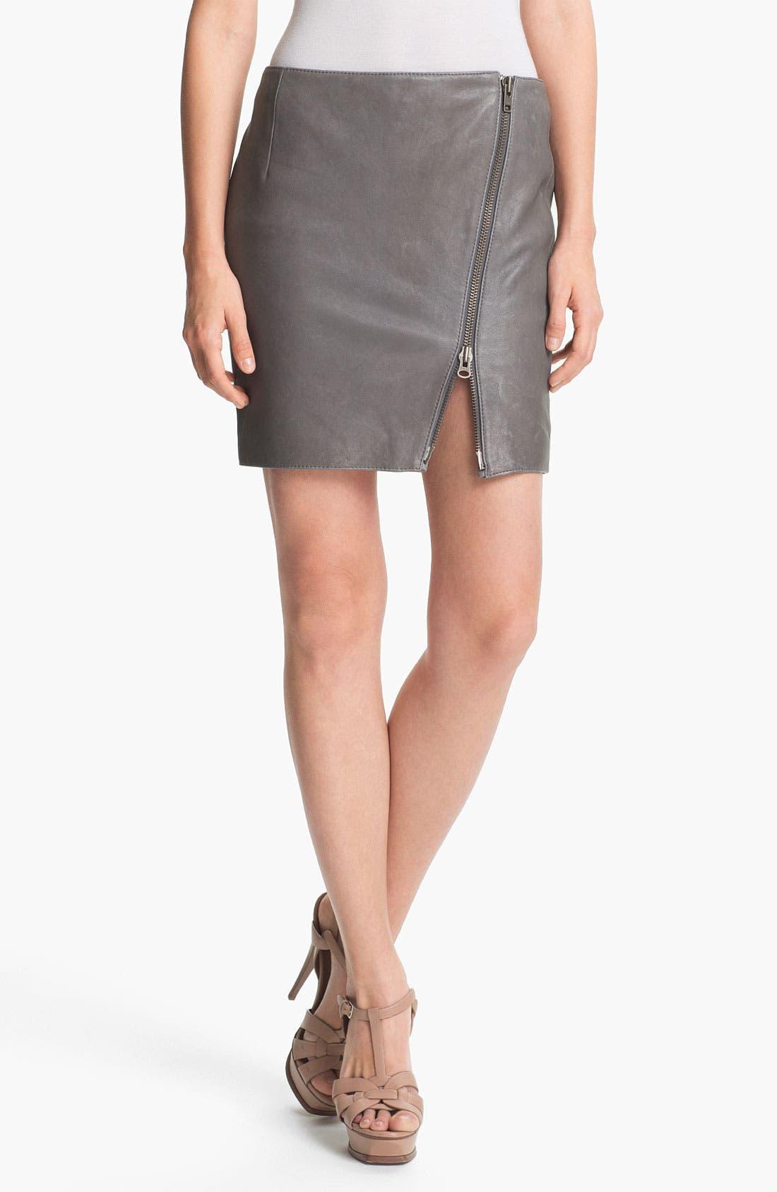 Alternate Image 1 Selected - Haute Hippie Asymmetrical Zip Leather Miniskirt
