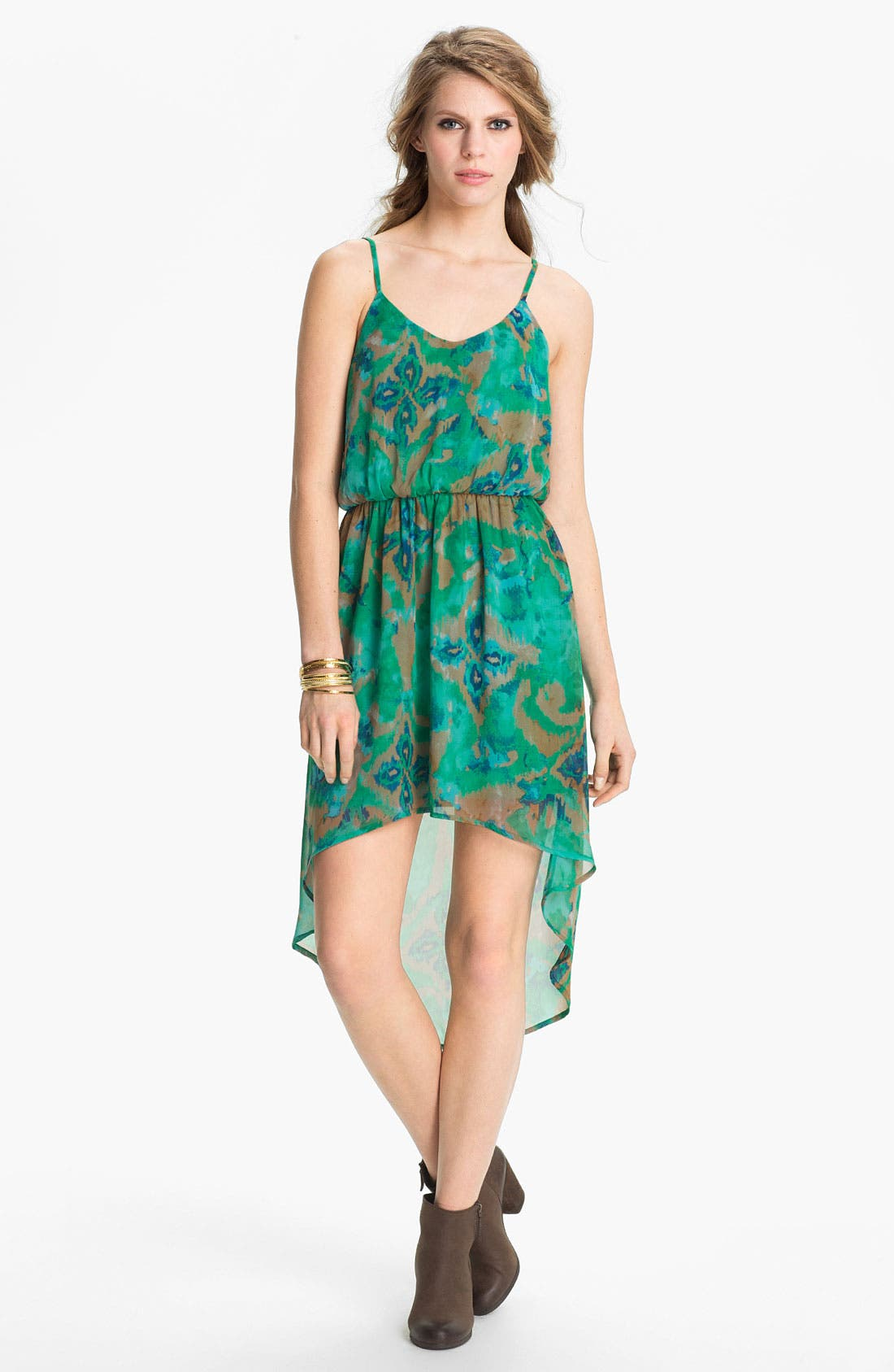 Alternate Image 1 Selected - Lush High/Low Print Chiffon Dress (Juniors)