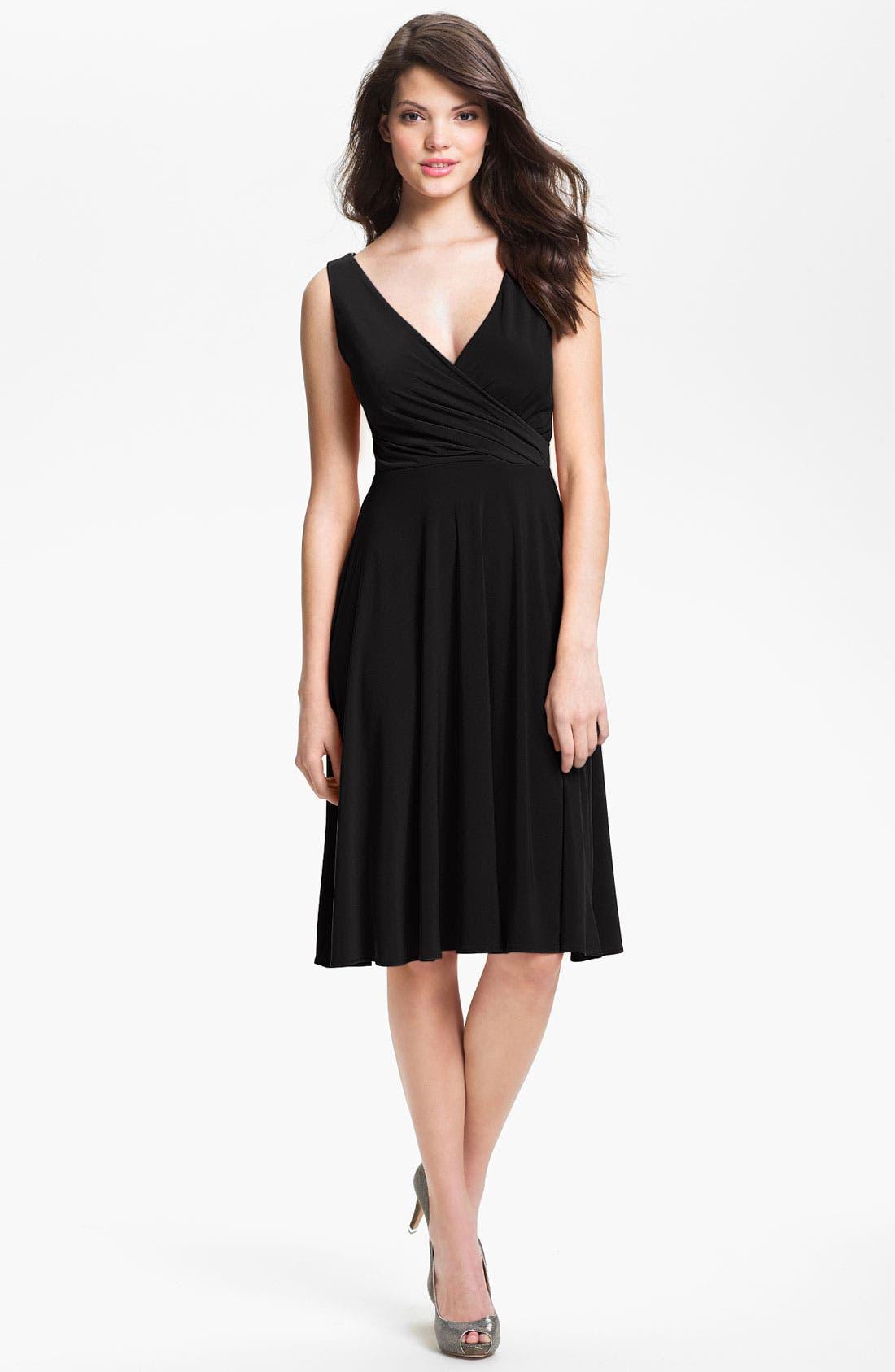 Main Image - Isaac Mizrahi New York Surplice Jersey Dress (Regular & Petite)