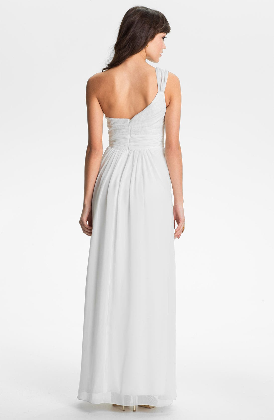 Alternate Image 2  - Hailey by Adrianna Papell One Shoulder Lace & Chiffon Gown (Online Only)