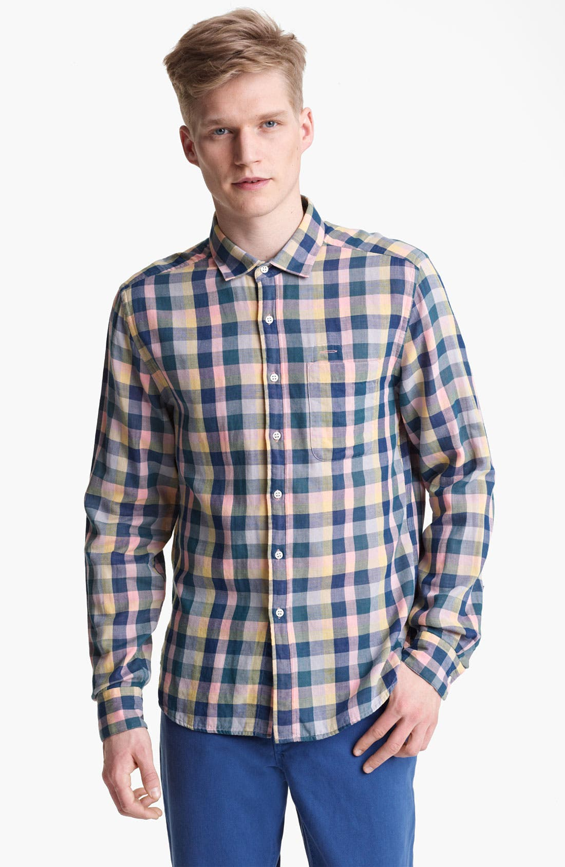 Alternate Image 1 Selected - Shipley & Halmos 'Marine' Plaid Woven Shirt