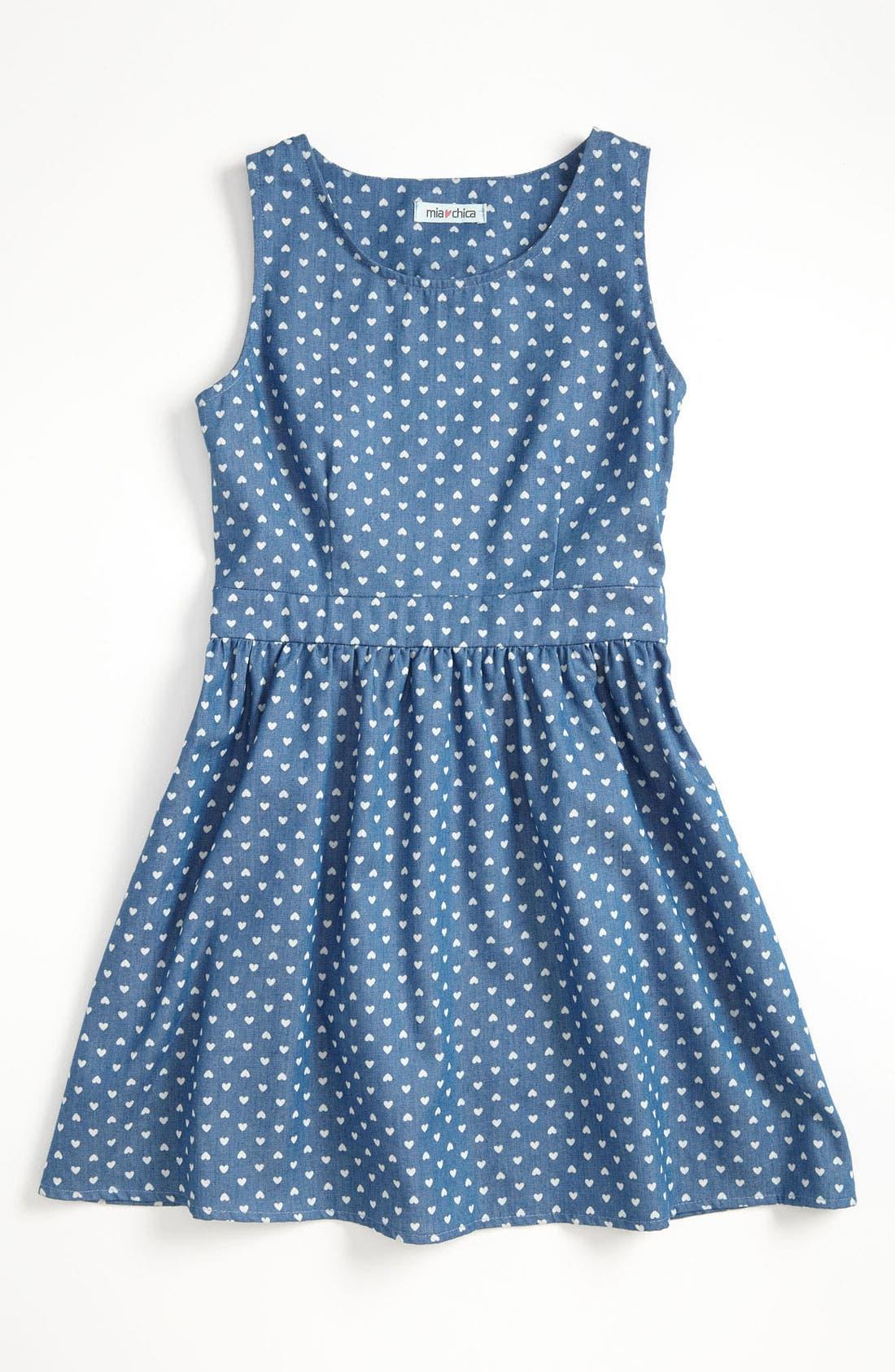 Main Image - Mia Chica Chambray Dress (Little Girls & Big Girls)