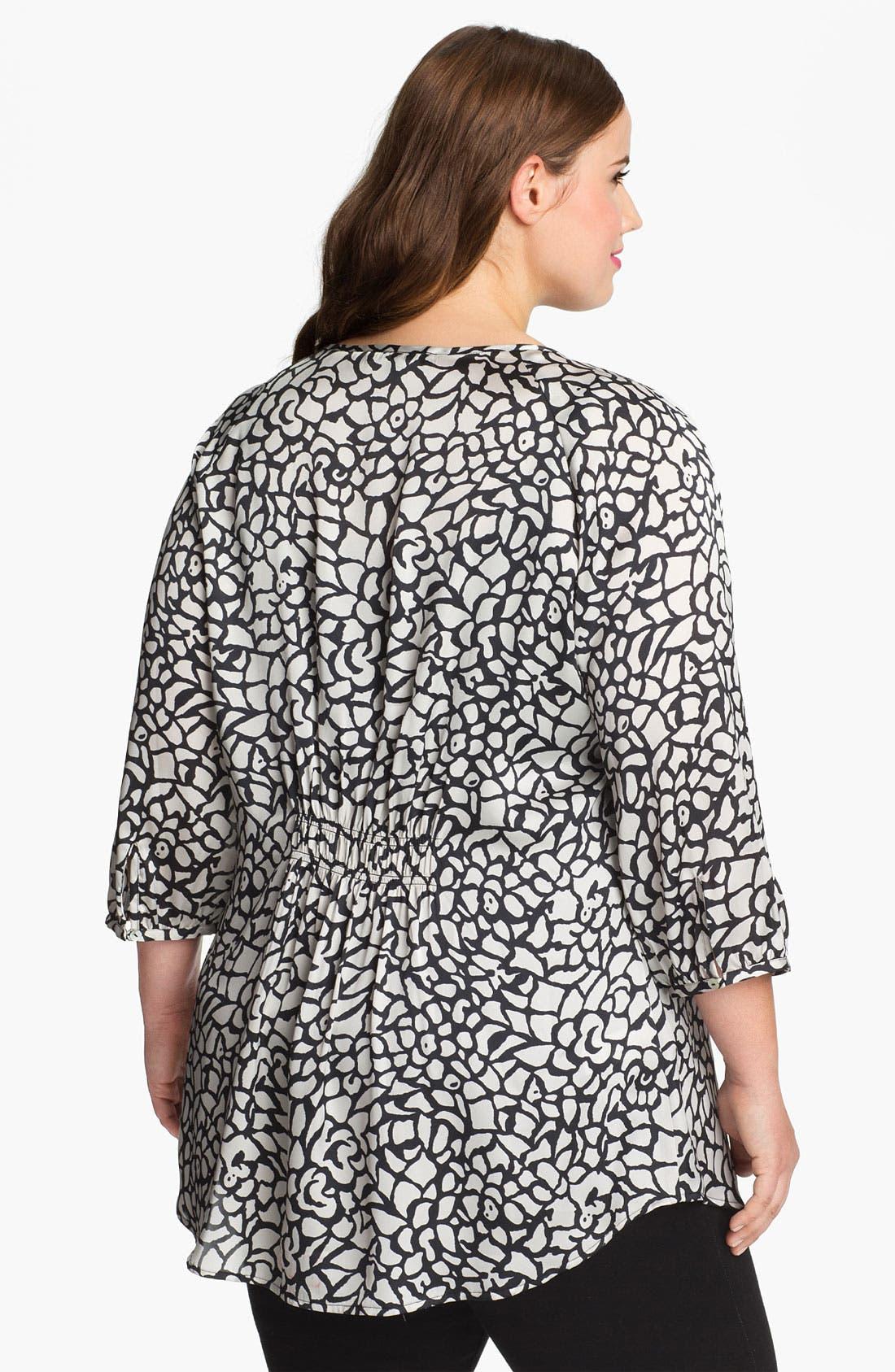 Alternate Image 2  - Daniel Rainn Crochet Front Print Blouse (Plus Size) (Online Only)