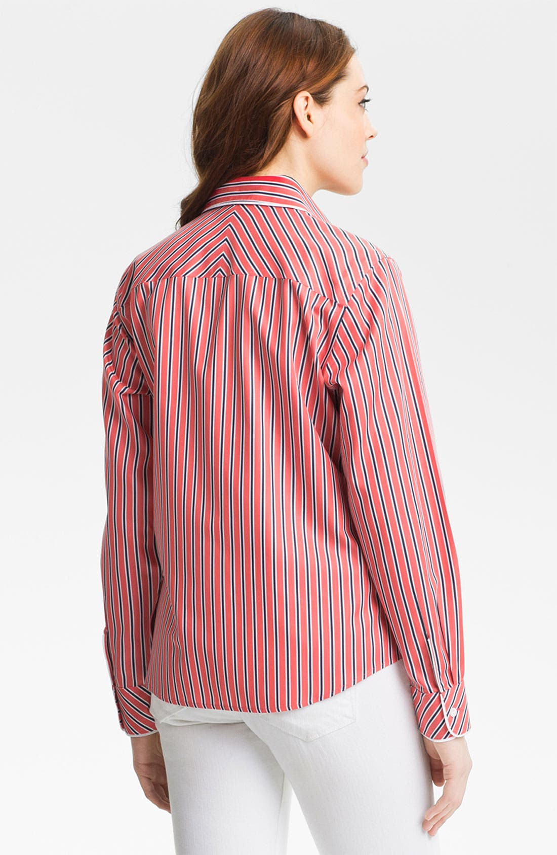 Alternate Image 3  - Foxcroft 'Papaya Stripe' Shirt (Petite)