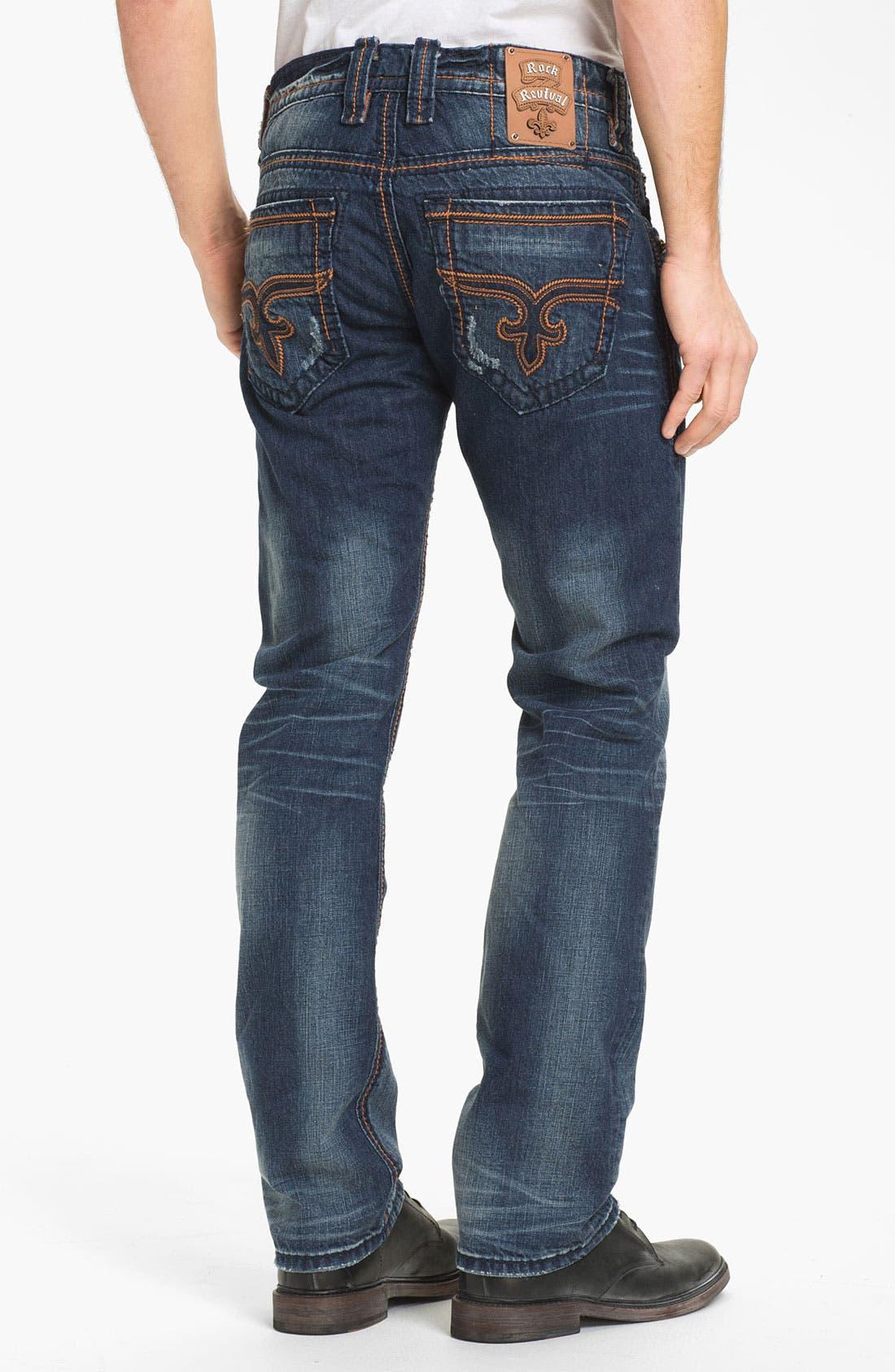 Main Image - Rock Revival 'Ewan Alternative' Straight Leg Jeans (Dark Blue)