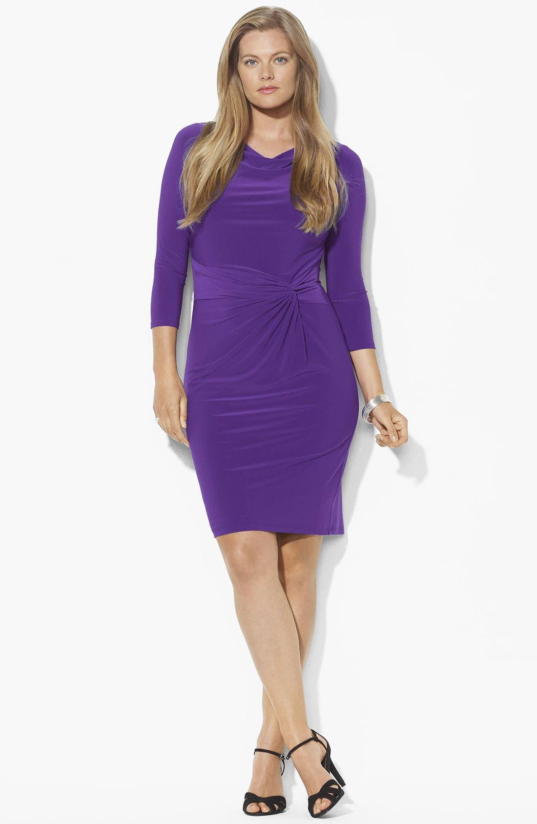 Main Image - Lauren Ralph Lauren Twist Front Matte Jersey Sheath Dress (Plus)