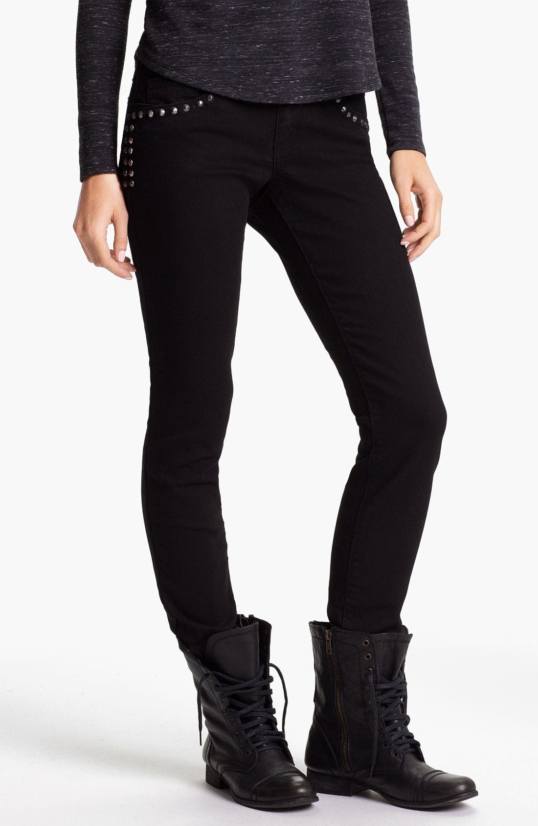 Alternate Image 1 Selected - Jolt Studded Skinny Jeans (Juniors)