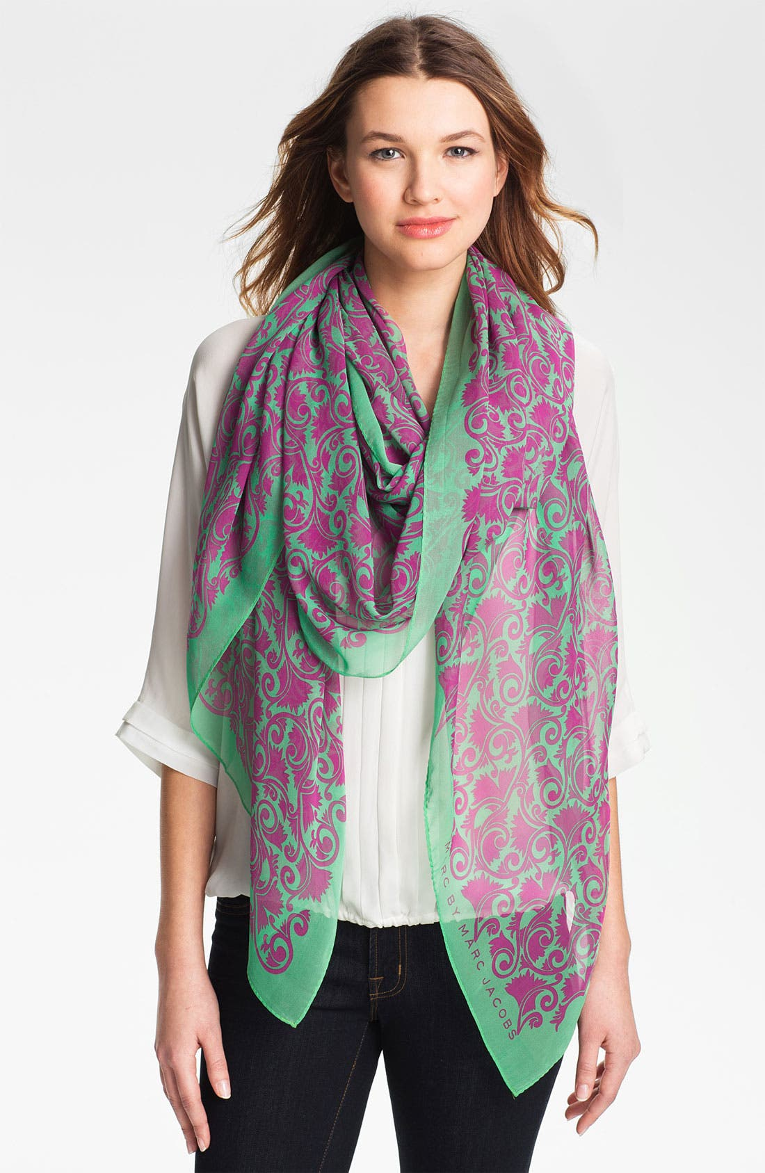 Main Image - MARC BY MARC JACOBS 'Tootsie Flower' Silk Scarf