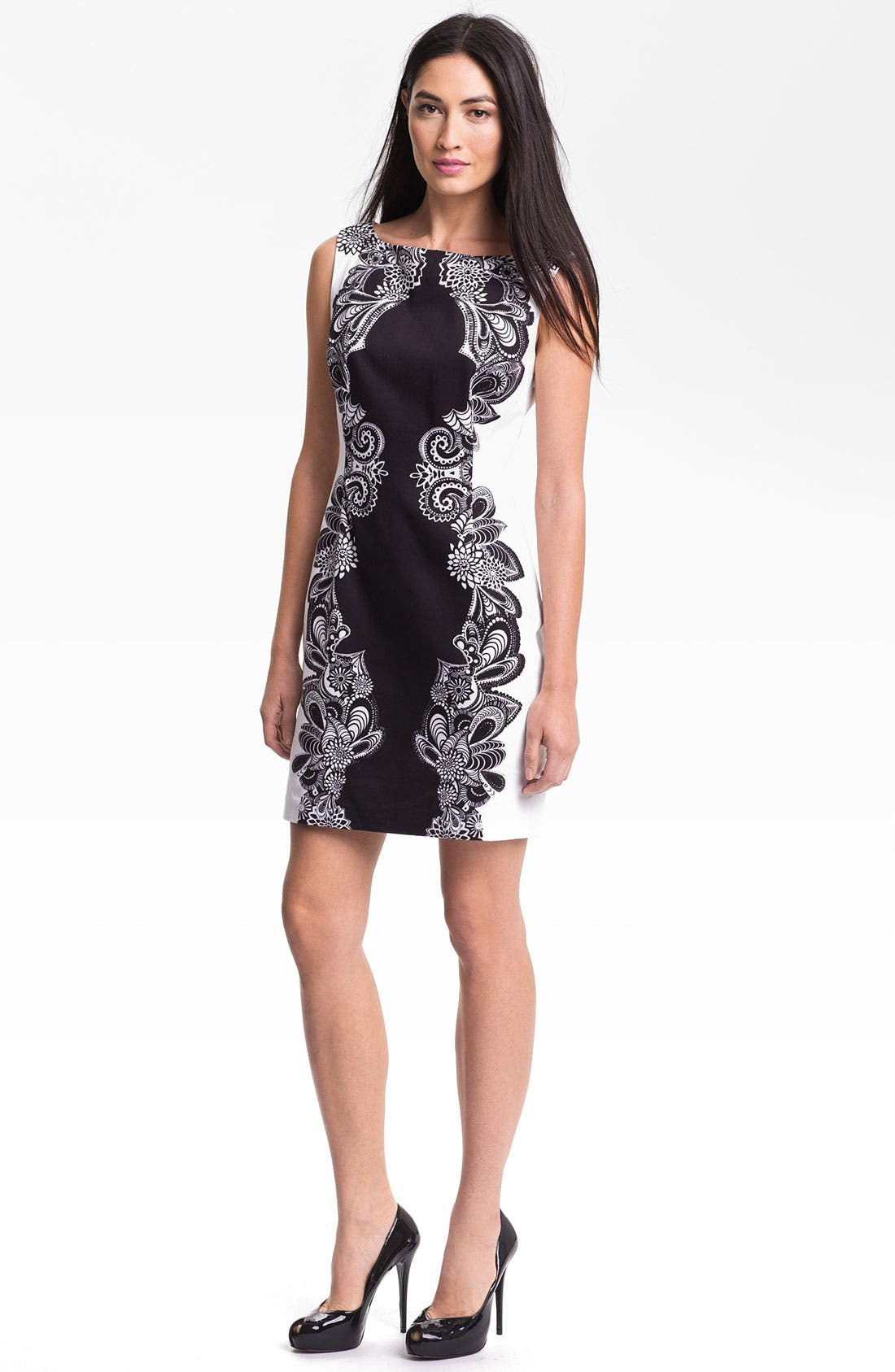 Main Image - Adrianna Papell Placed Print Shift Dress