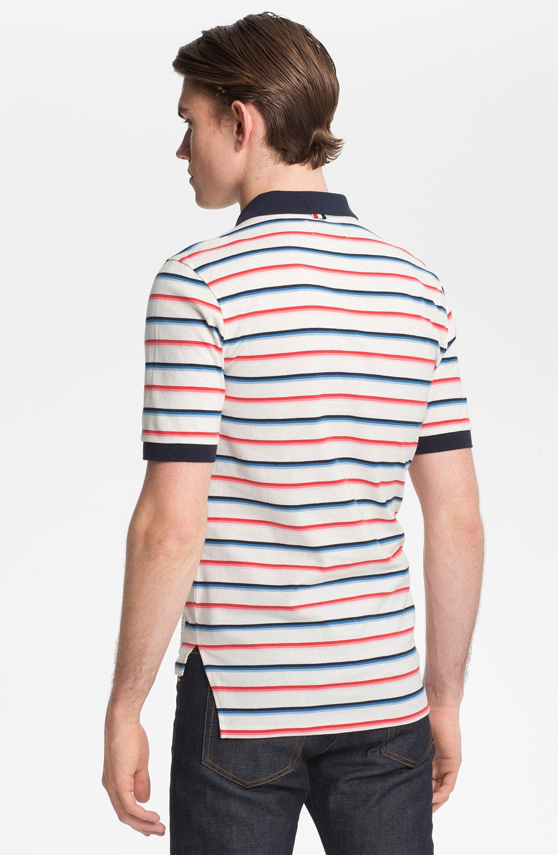 Alternate Image 2  - Thom Browne Stripe Cotton Jersey Polo