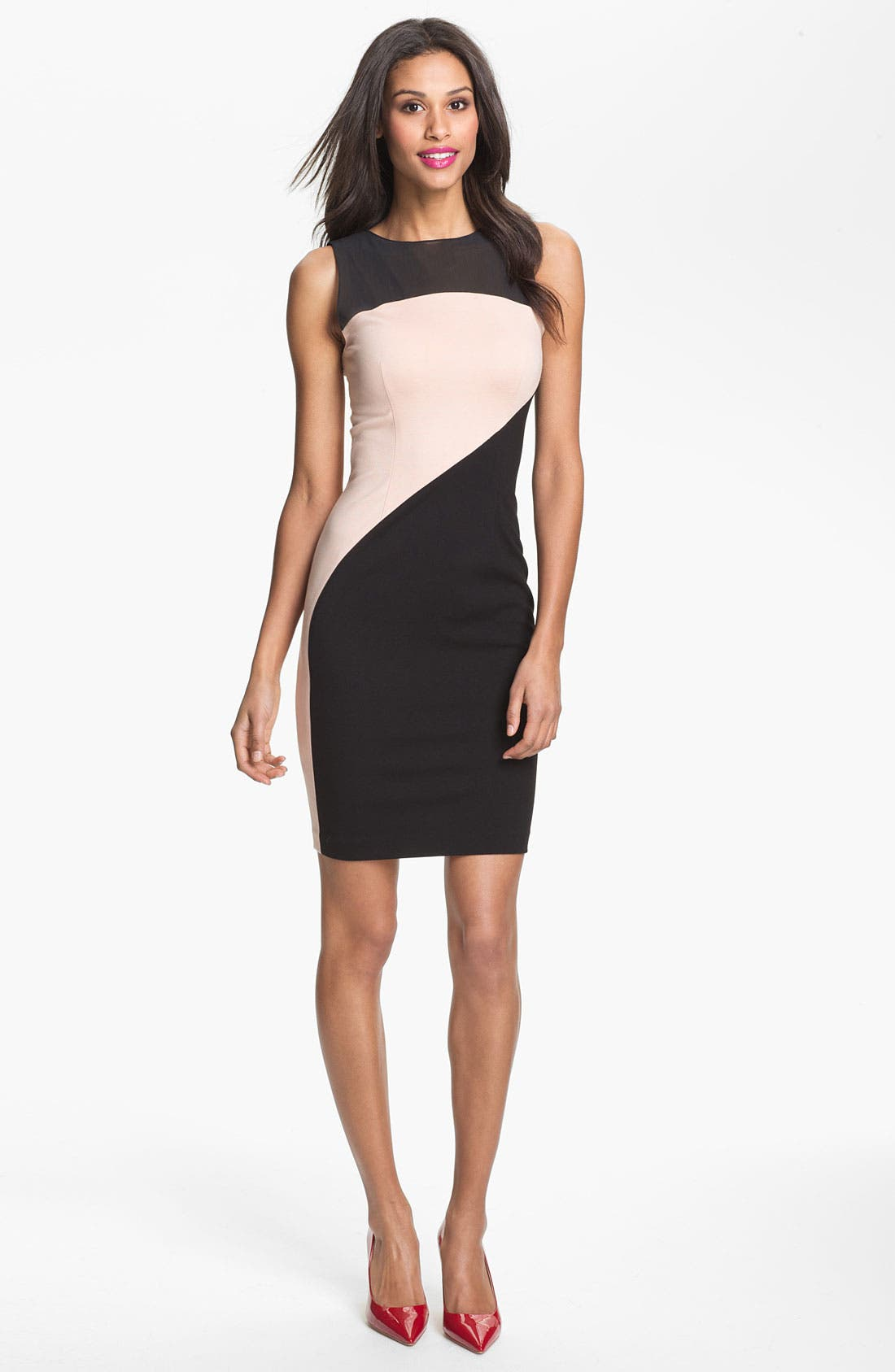 Main Image - ERIN erin fetherston Mesh Yoke Colorblock Sheath Dress