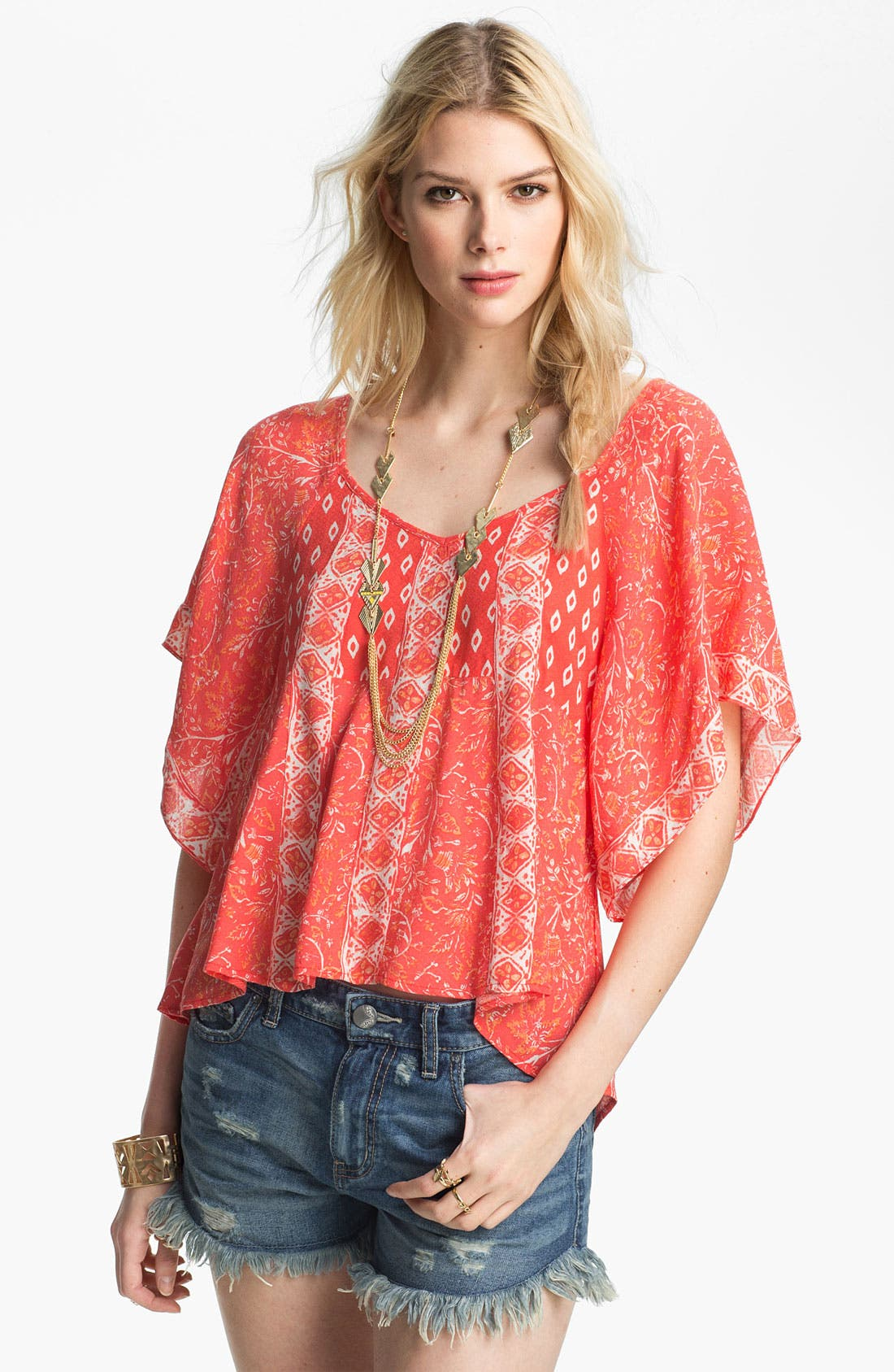 Alternate Image 1 Selected - Free People 'Mix It Up' Print Butterfly Top