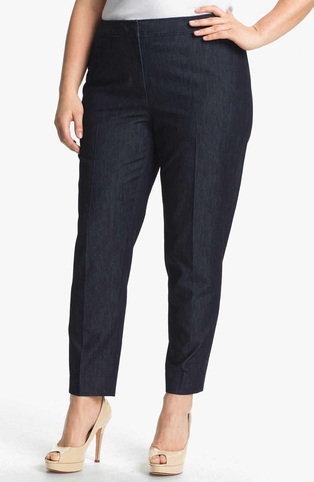 Alternate Image 1 Selected - Sejour Stretch Cotton Ankle Pants (Plus Size)