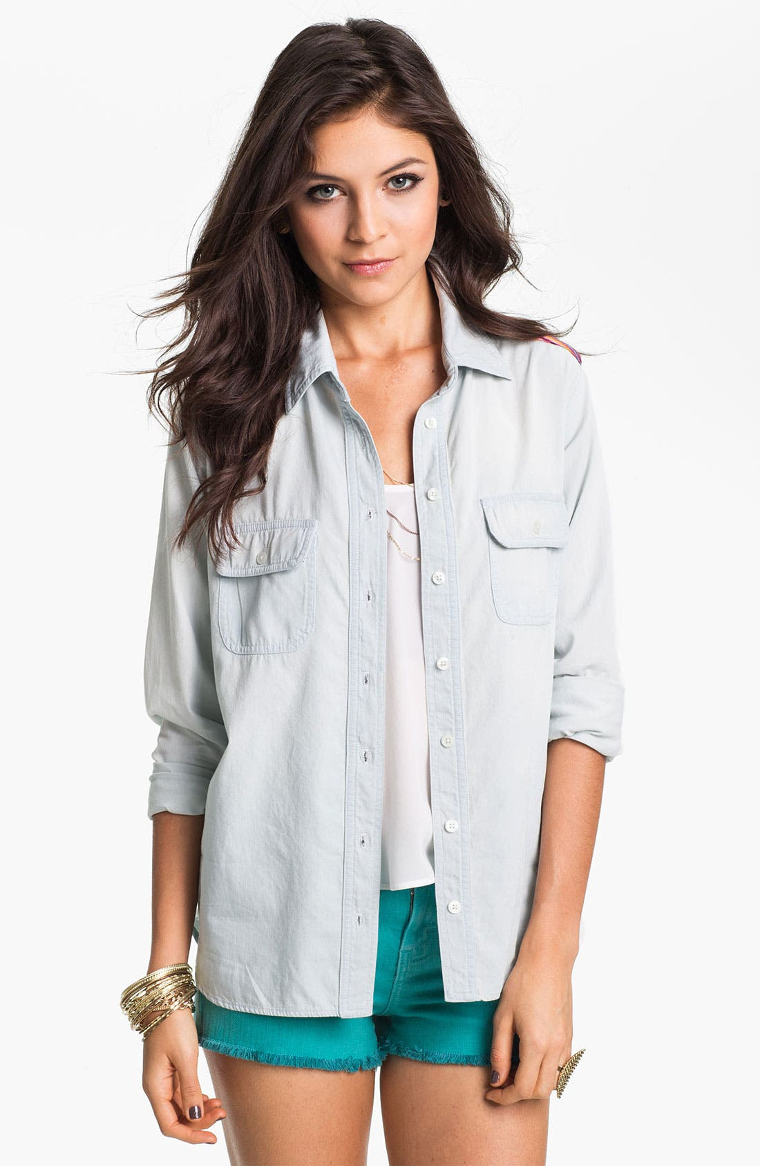 Alternate Image 2  - Band of Gypsies Festival Chambray Shirt (Juniors)