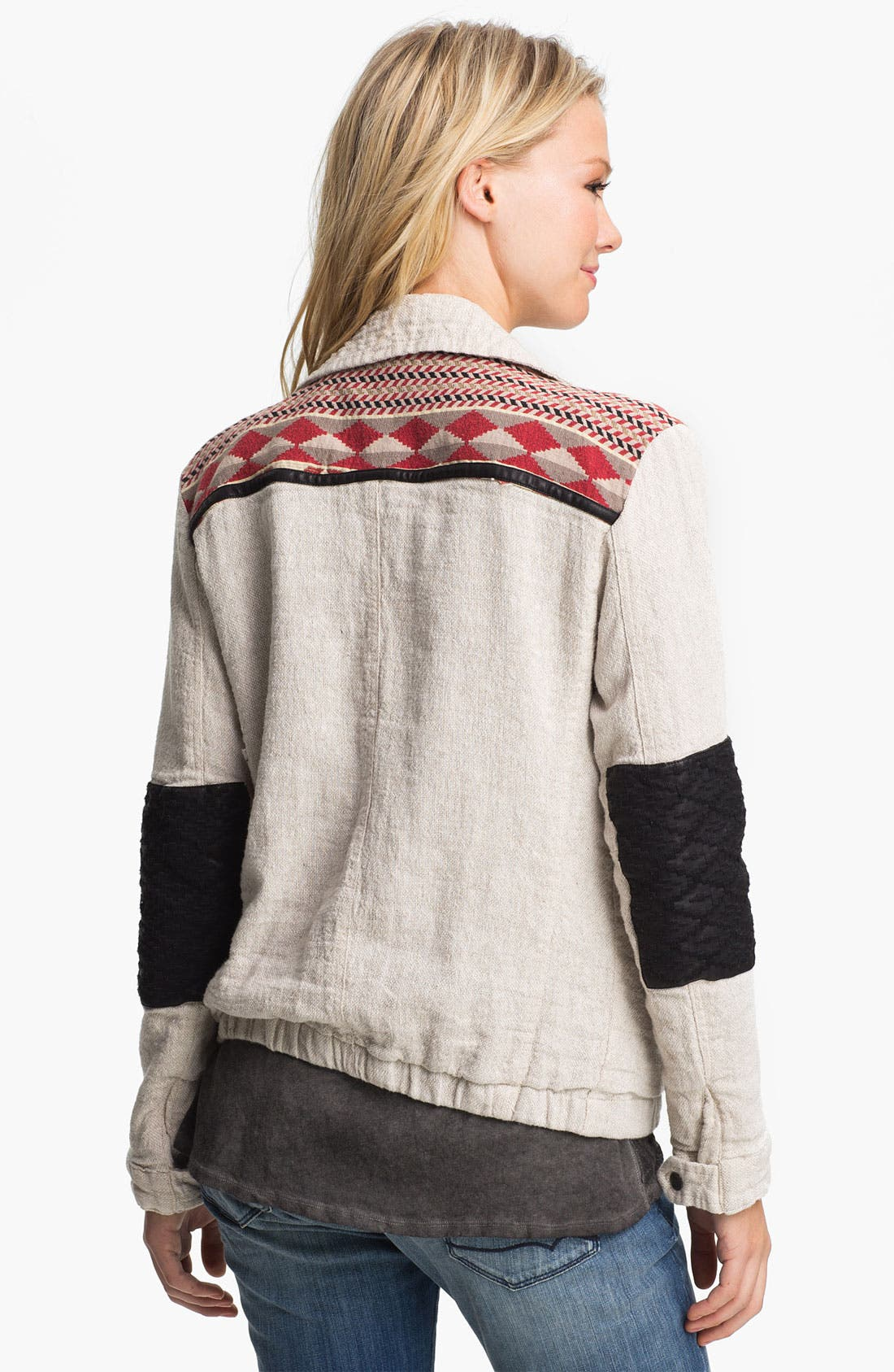 Alternate Image 2  - Maison Scotch Faux Leather & Ikat Trim Field Jacket