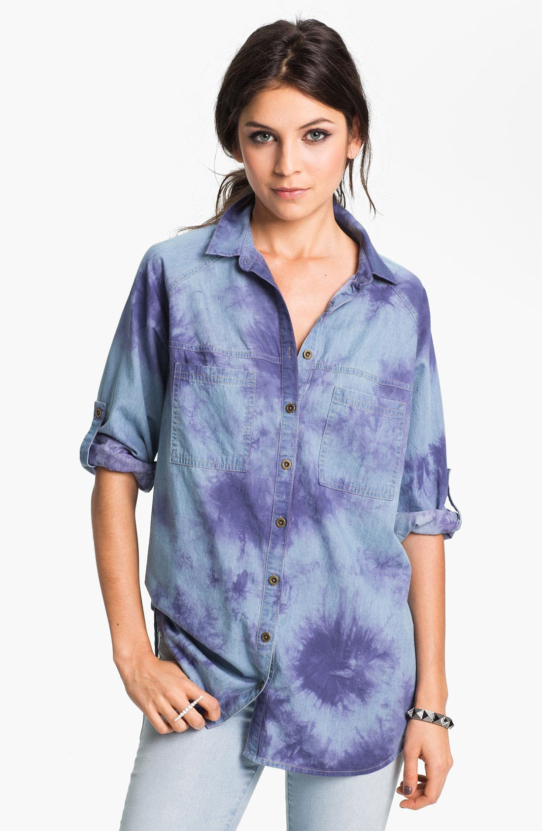 Alternate Image 1 Selected - Fire Tie Dye Chambray Shirt (Juniors)