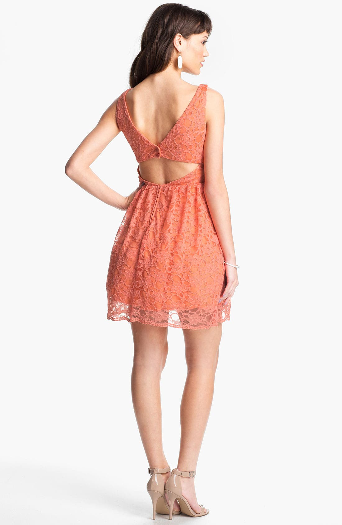 Alternate Image 2  - Way-In Cutout Lace Skater Dress (Juniors)
