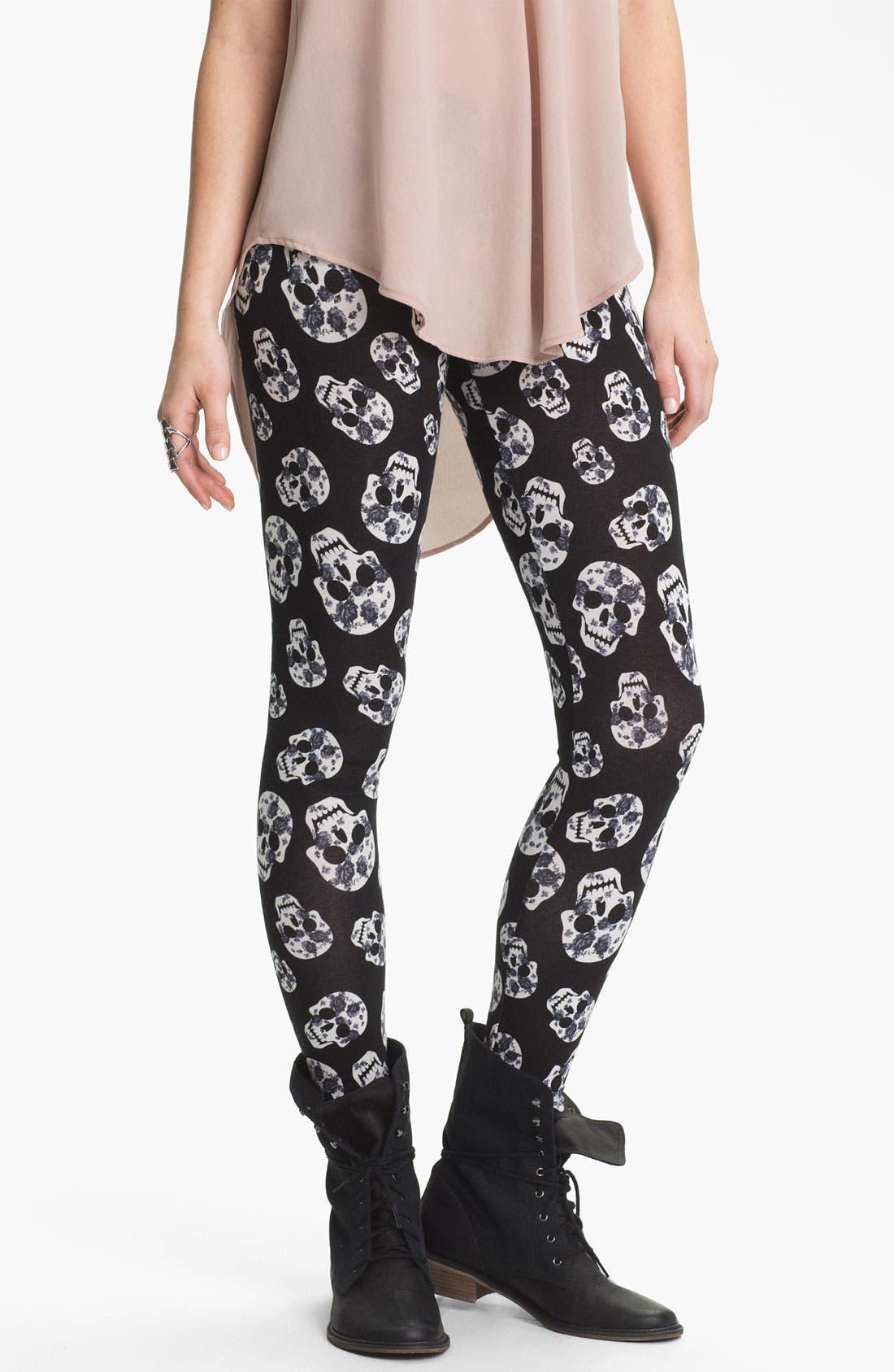 Alternate Image 1 Selected - Mimi Chica Skull Print Leggings (Juniors)