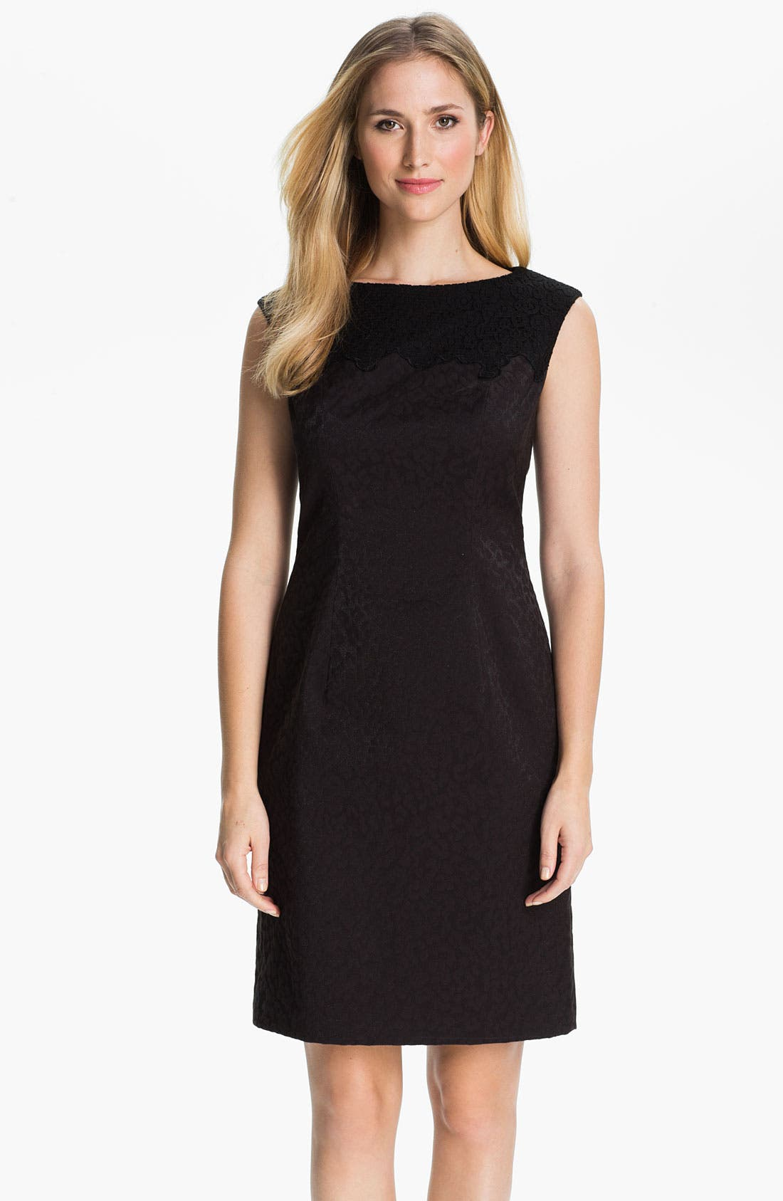 Alternate Image 1 Selected - Adrianna Papell Embroidered Brocade Sheath Dress (Petite)