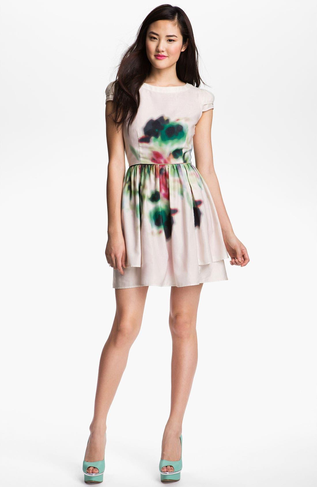 Main Image - Jessica Simpson Layered Print Fit & Flare Dress