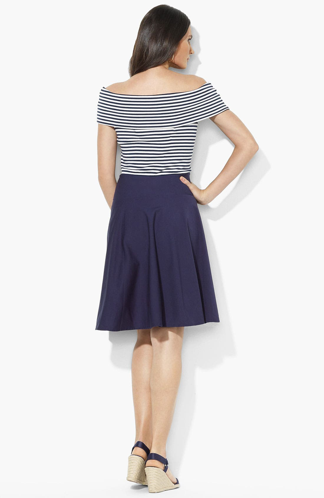 Alternate Image 2  - Lauren Ralph Lauren Bateau Neck Woven Skirt Dress (Petite)