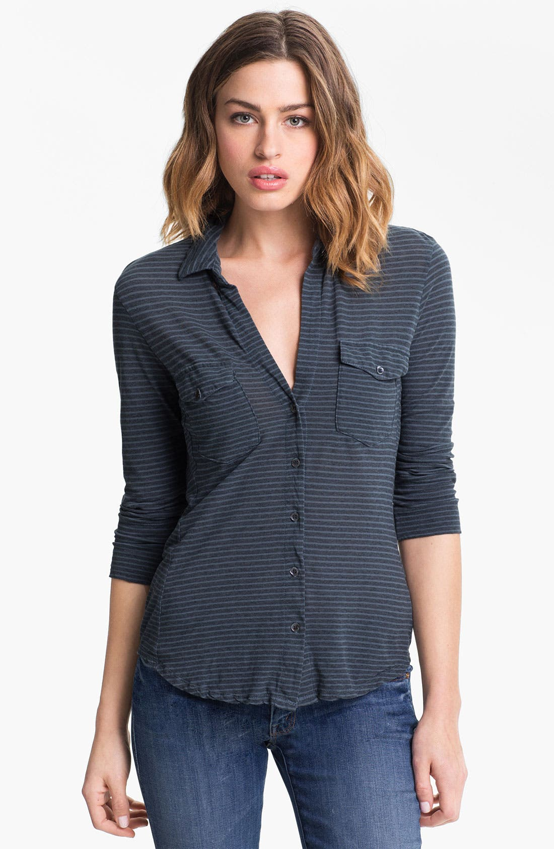 Alternate Image 1 Selected - James Perse Stripe Jersey Shirt