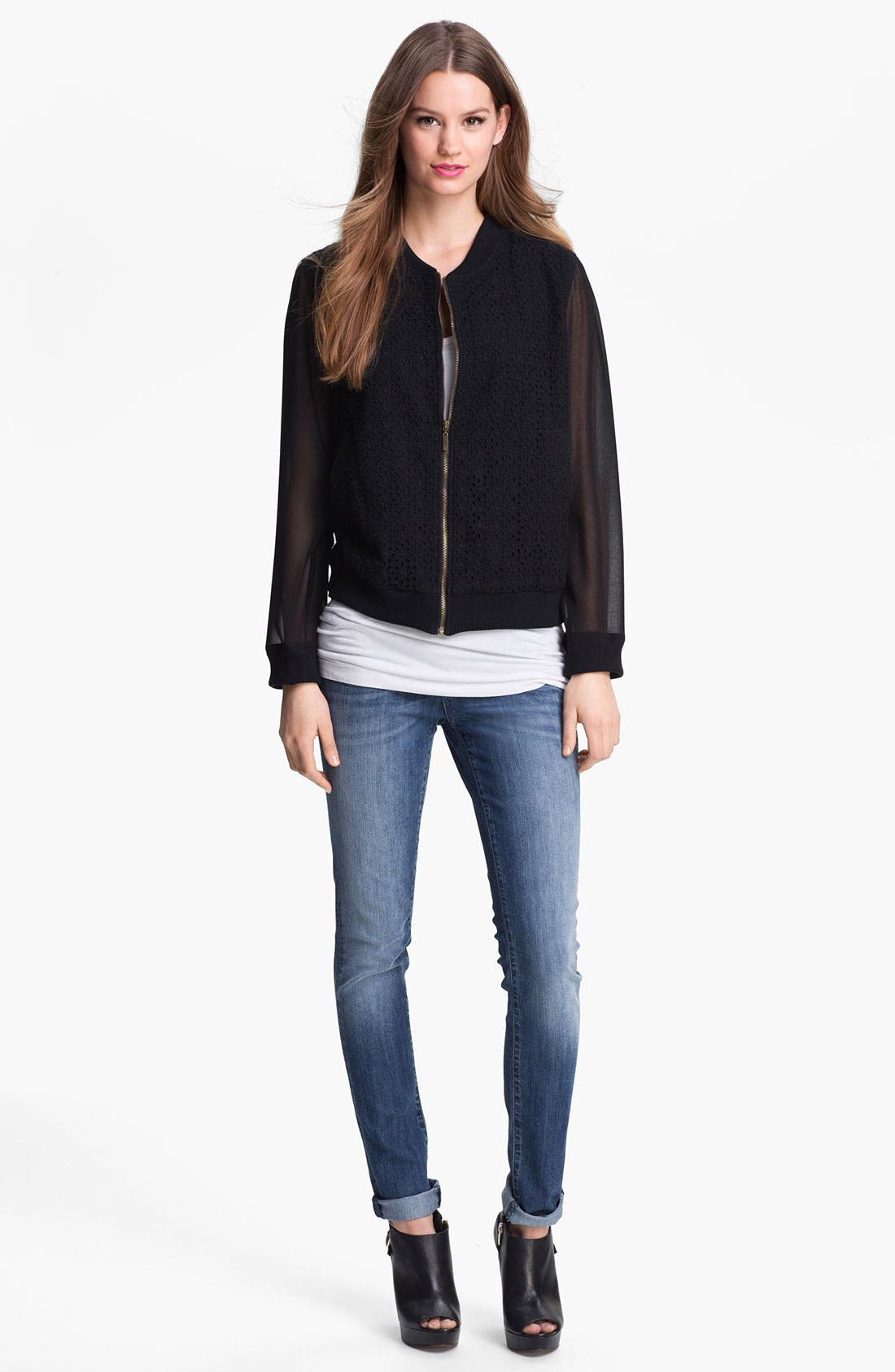 Alternate Image 1 Selected - Max & Mia Chiffon Sleeve Eyelet Bomber Jacket