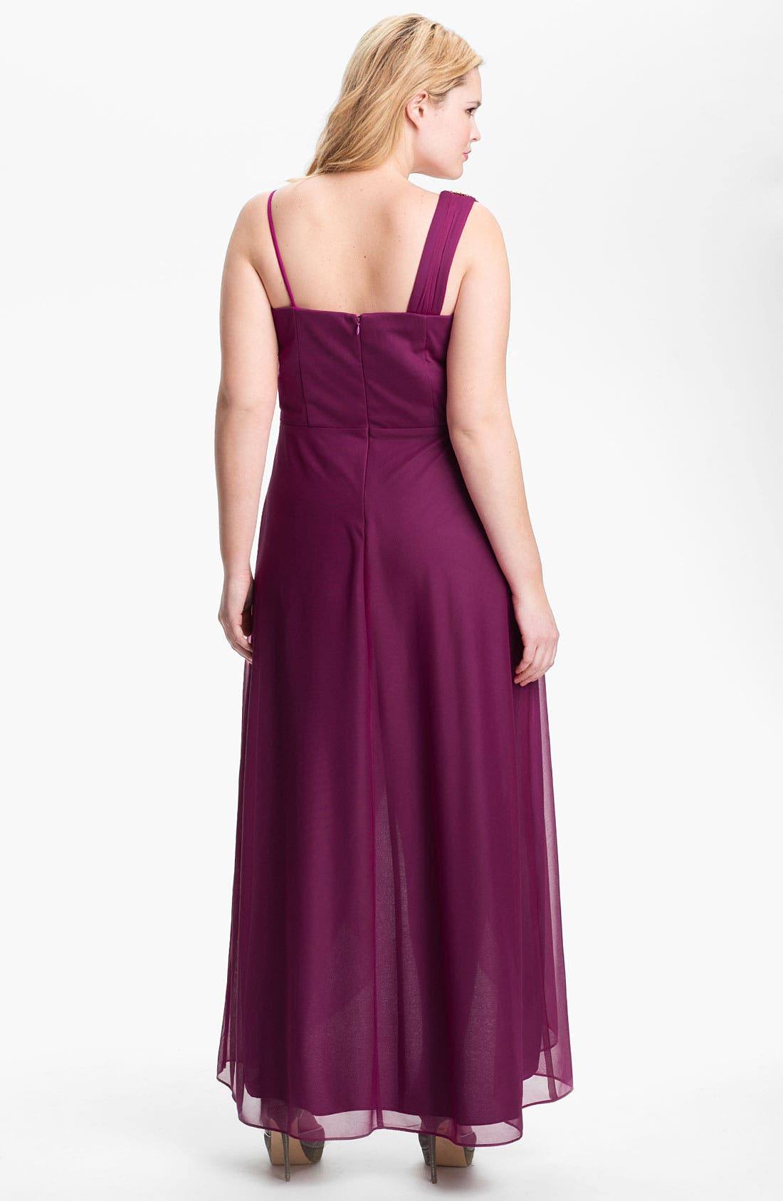 Alternate Image 2  - Xscape Embellished High/Low Mesh Gown (Plus Size) (Online Only)