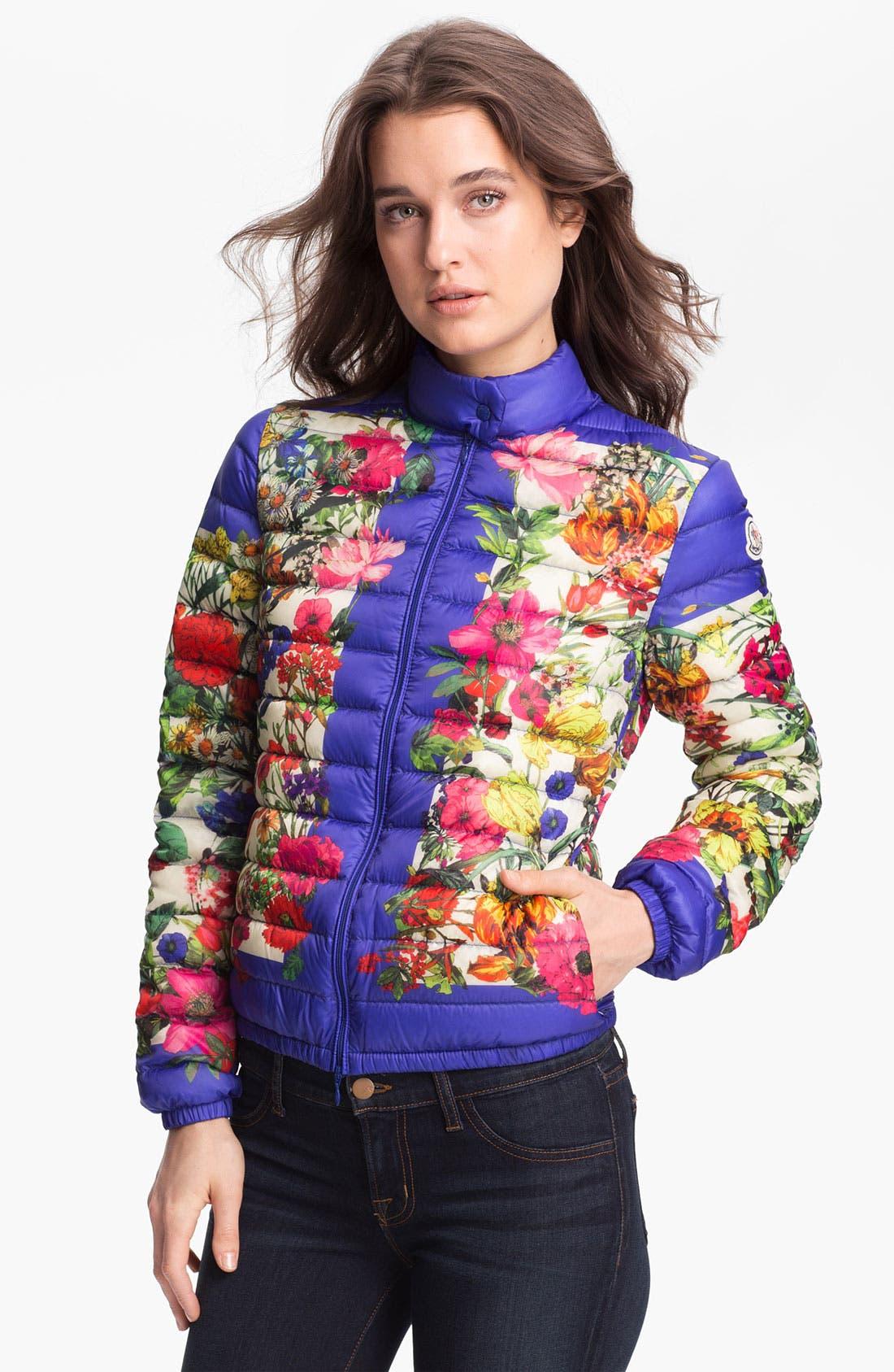 Main Image - Moncler 'Alisia' Packable Floral Print Down Jacket