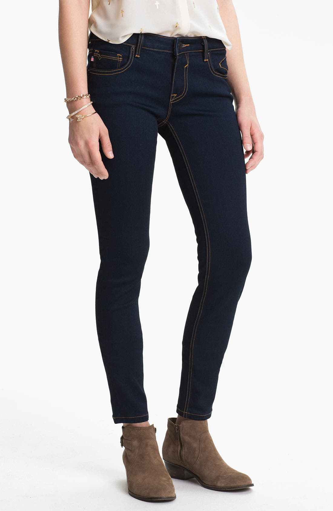 Alternate Image 2  - Vigoss Embroidered Pocket Skinny Jeans (Juniors)