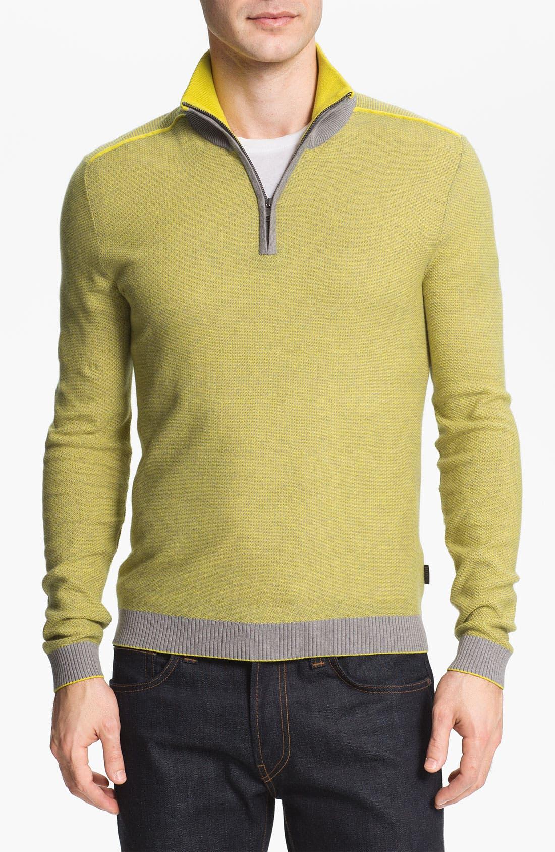 Alternate Image 1 Selected - BOSS Black 'Gorius' Quarter Zip Sweater
