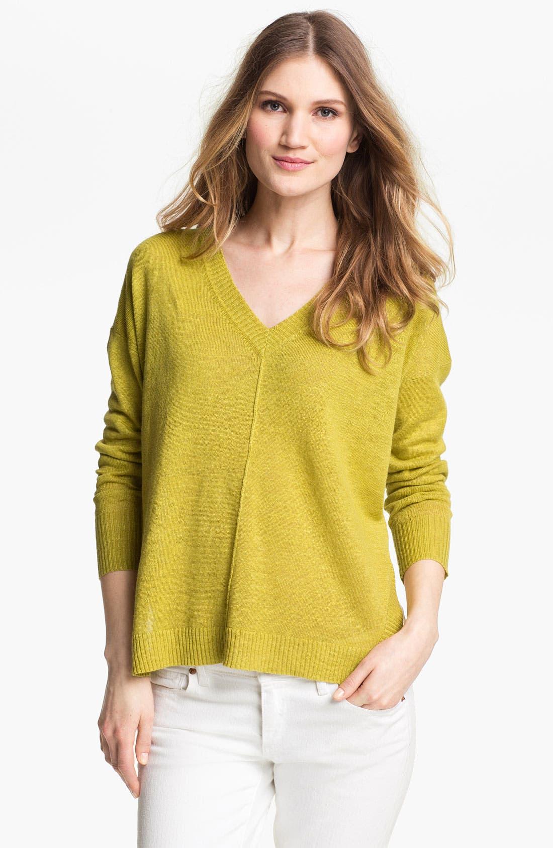 Alternate Image 1 Selected - Eileen Fisher Boxy V-Neck Sweater