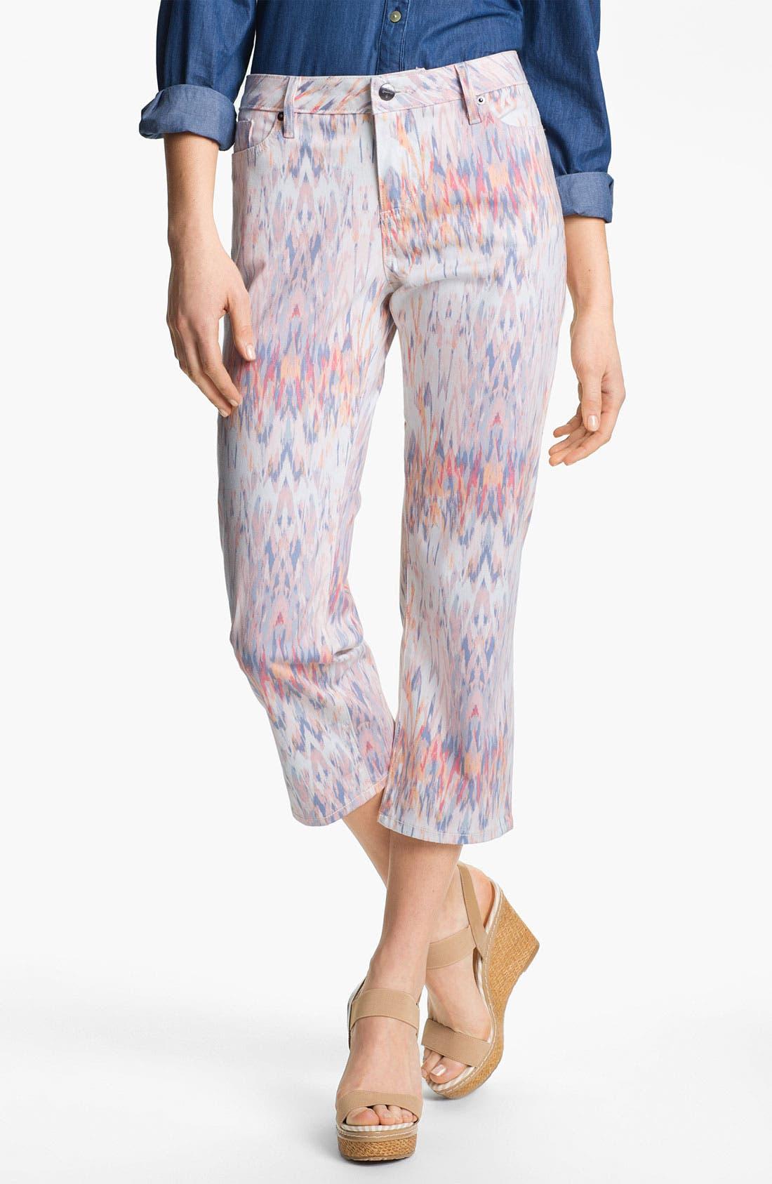 Main Image - Christopher Blue 'Chloe' Print Crop Jeans