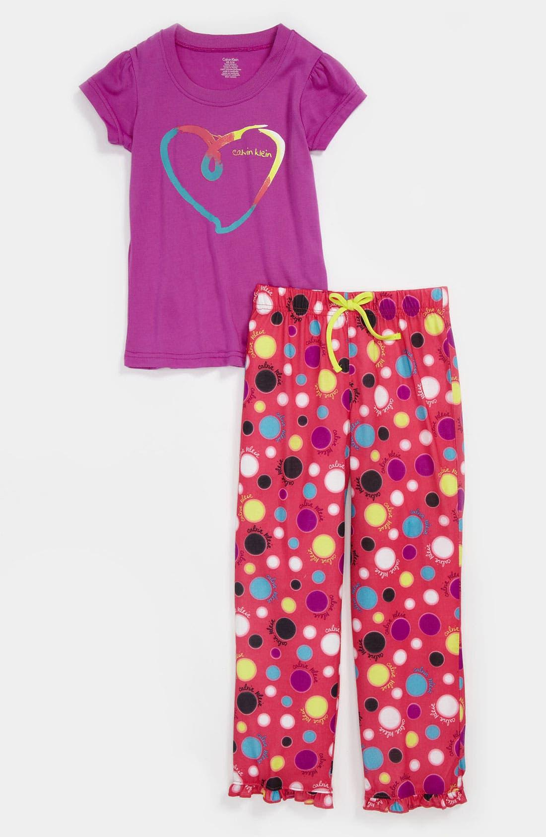 Alternate Image 1 Selected - Calvin Klein Pajama Set (Little Girls & Big Girls)
