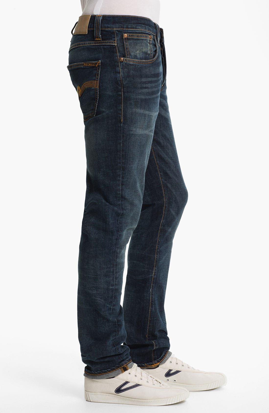 Alternate Image 3  - Nudie 'Grim Tim' Skinny Straight Leg Jeans (Organic Crushed Denim)