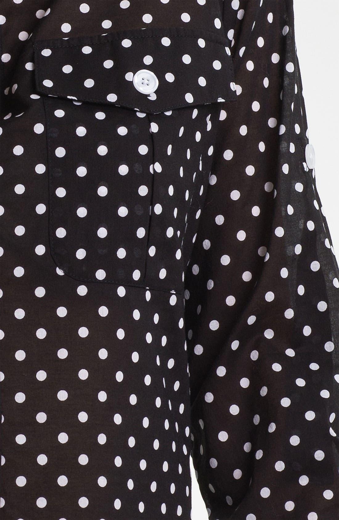 Alternate Image 3  - Bellefleur Roll Sleeve Polka Dot Shirt