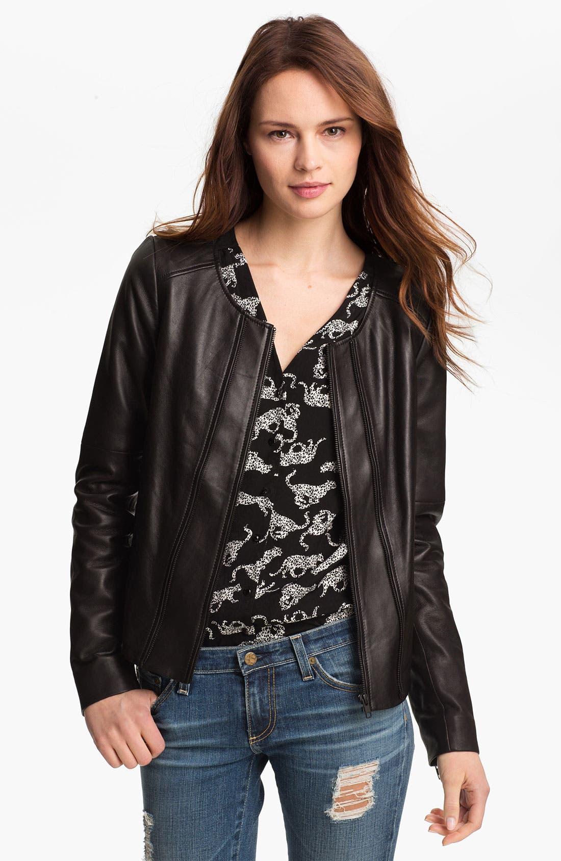 Main Image - Trouvé Double Zip Leather Jacket