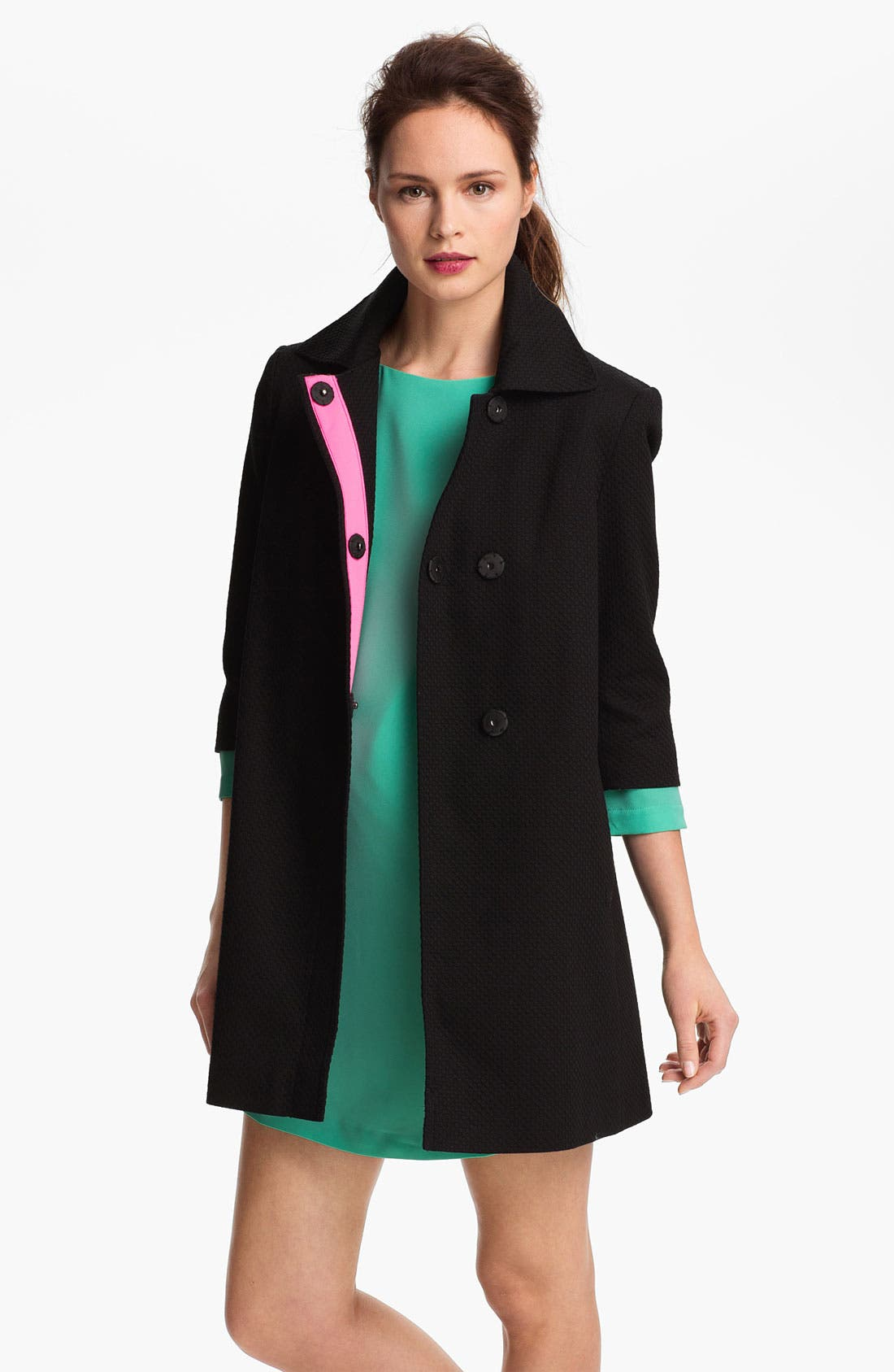Alternate Image 2  - Tahari Three Quarter Sleeve Walking Coat
